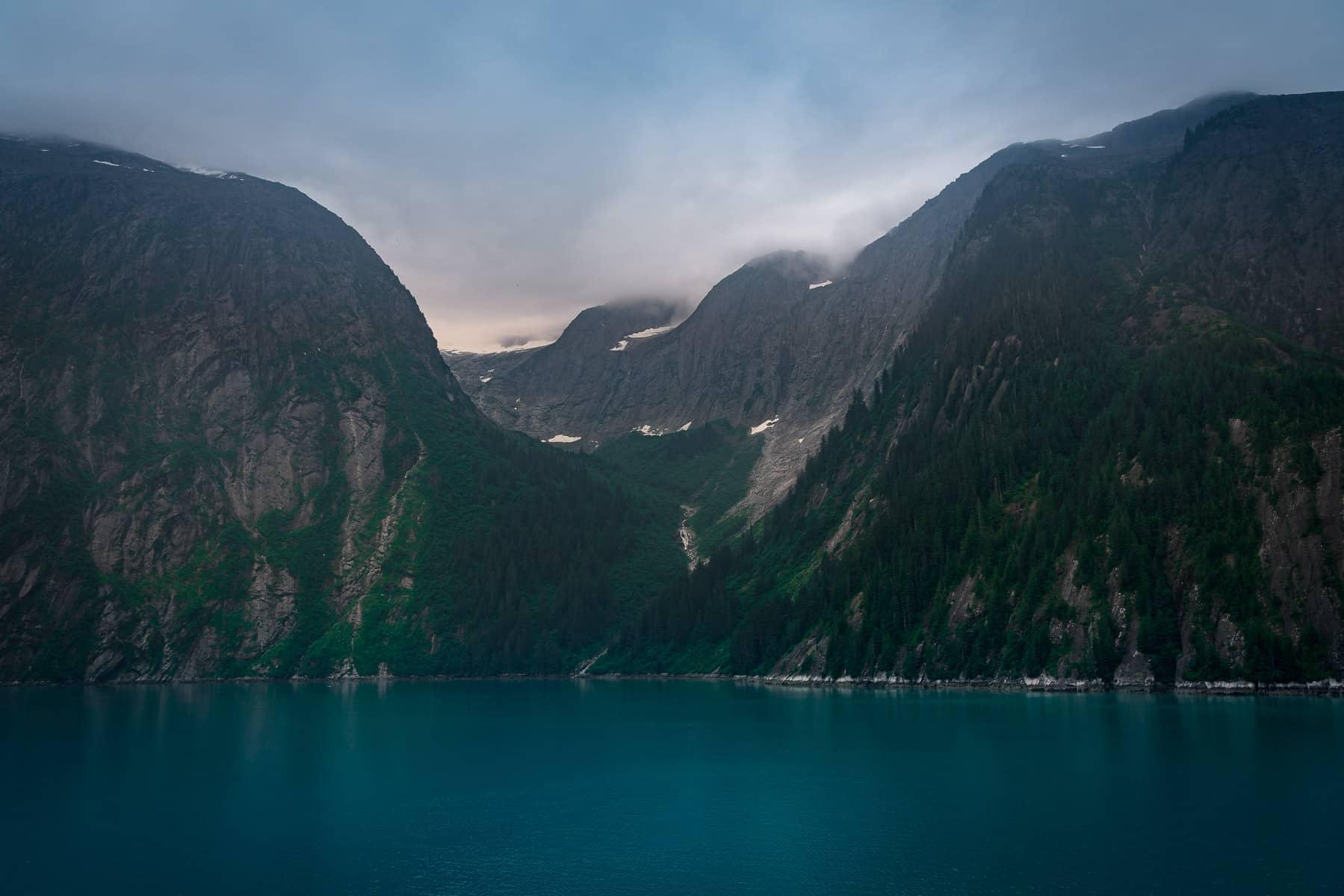The steep mountainous terrain of the Alaska's Tracy Arm Fjord.