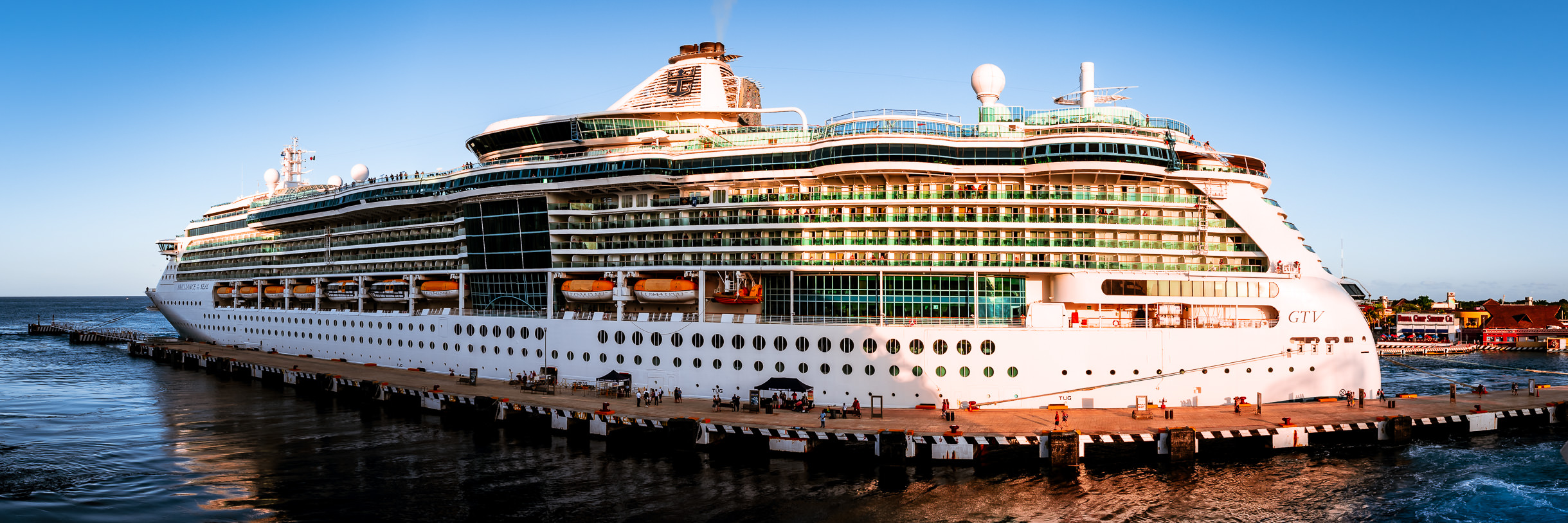 The Royal Caribbean cruise ship Brilliance of the Seas, docked in Cozumel, Mexico.