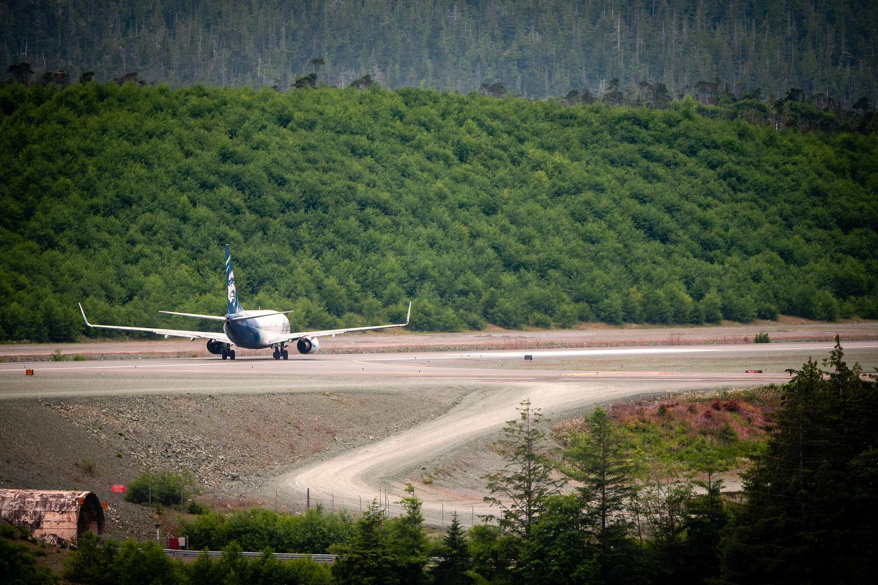 An Alaska Airlines 737 prepares to depart from Ketchikan International Airport, Alaska.