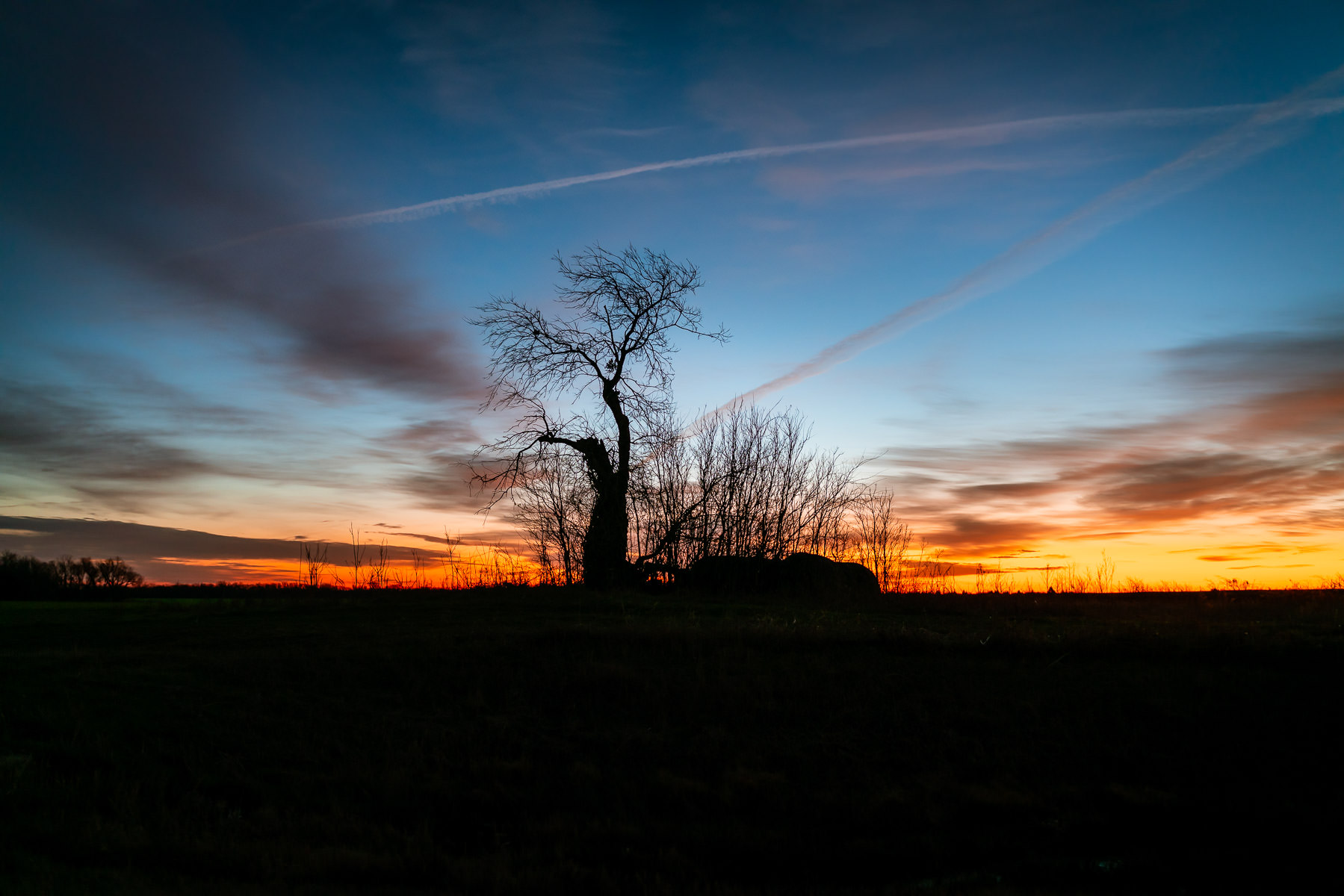 The sun rises on a tree and nearby bales of hay near Dorchester, Texas.
