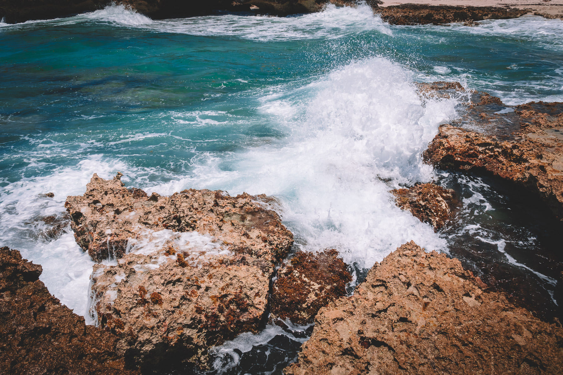 Waves roar ashore at El Mirador, Cozumel, Mexico.
