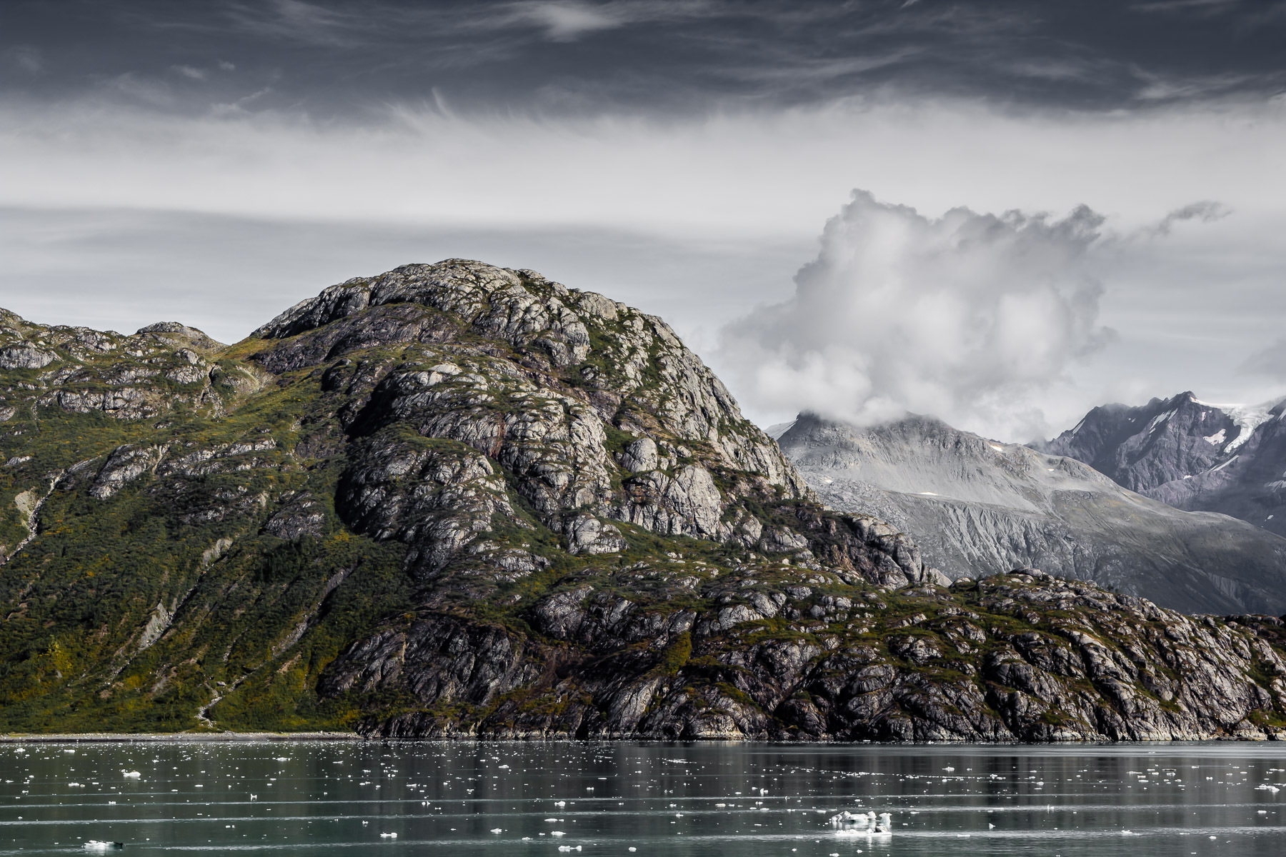 The rugged, cold landscape of Alaska's Glacier Bay National Park.