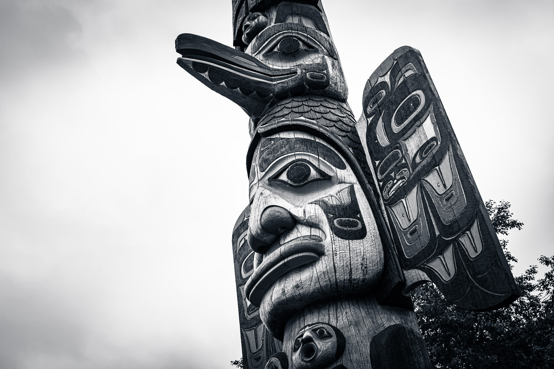 Detail of a totem pole spotted in Ketchikan, Alaska.