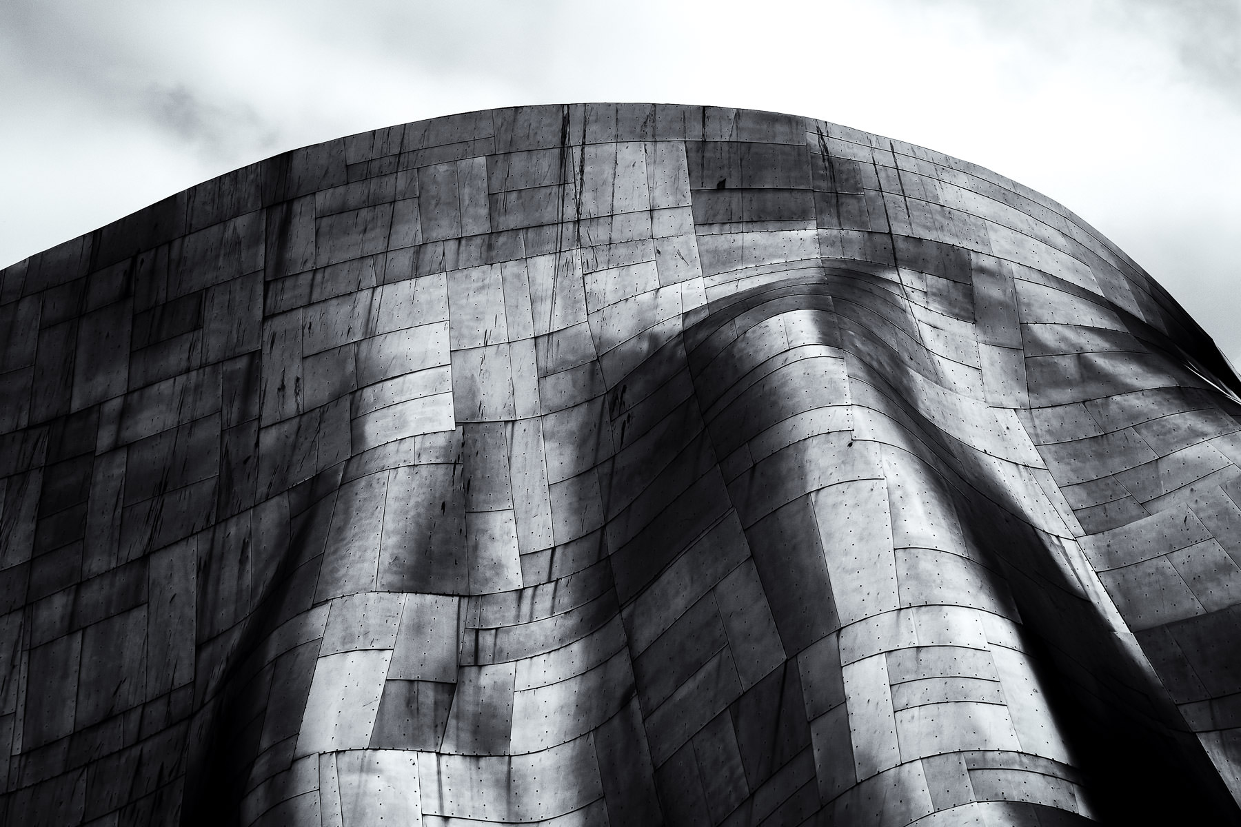 Architectural detail of architecture Frank Gehry's Museum of Pop Culture in Seattle.