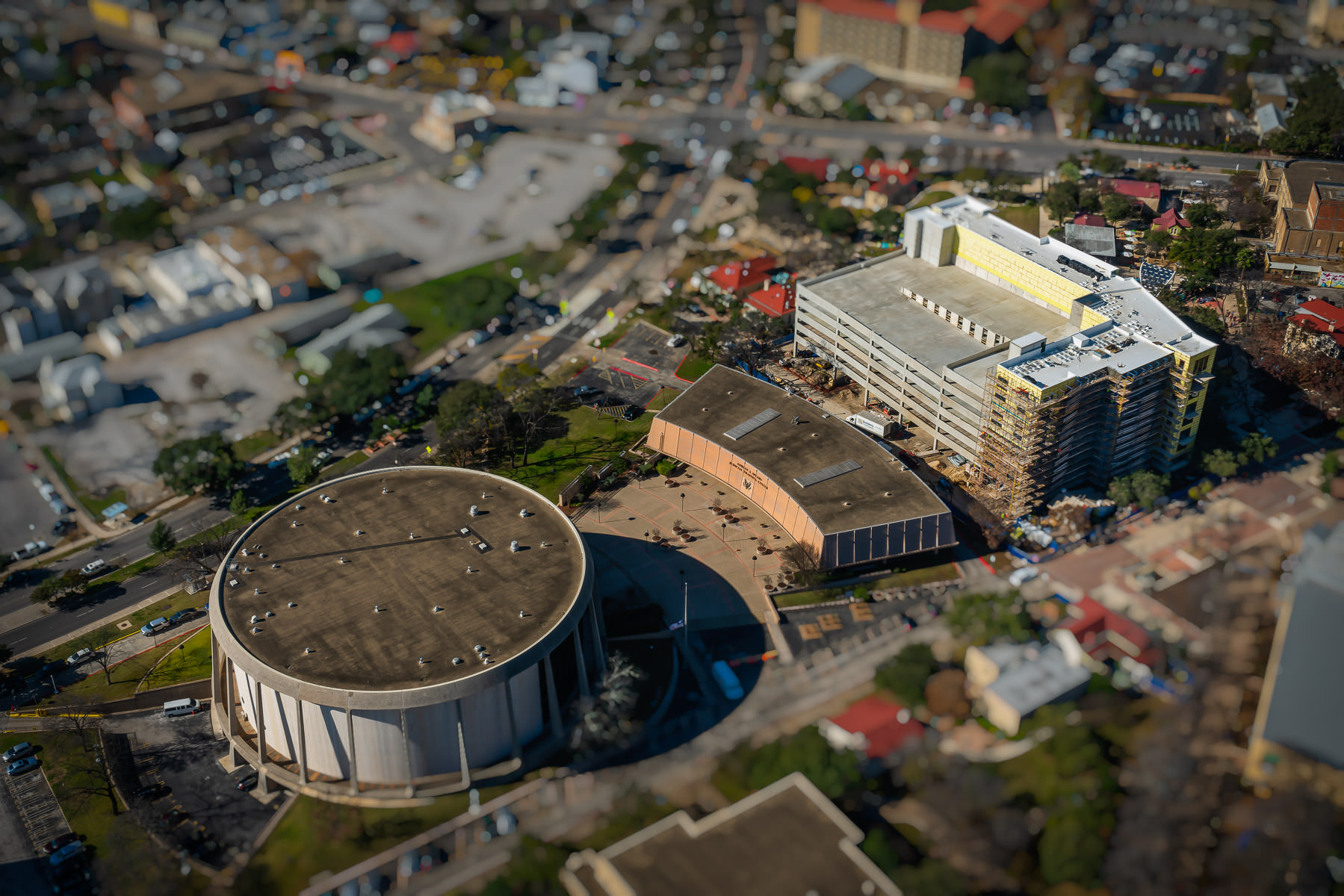 San Antonio, Texas' John H. Wood, Jr. Federal Courthouse—originally build as a theatre for HemisFair '68—as seen from the nearby Tower of the Americas.
