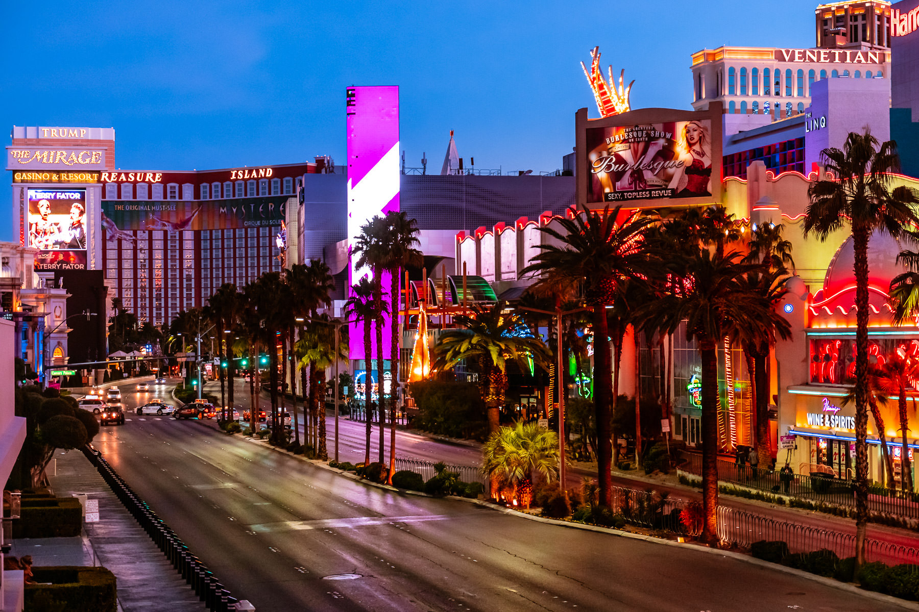 The first light of day on the Las Vegas Strip.
