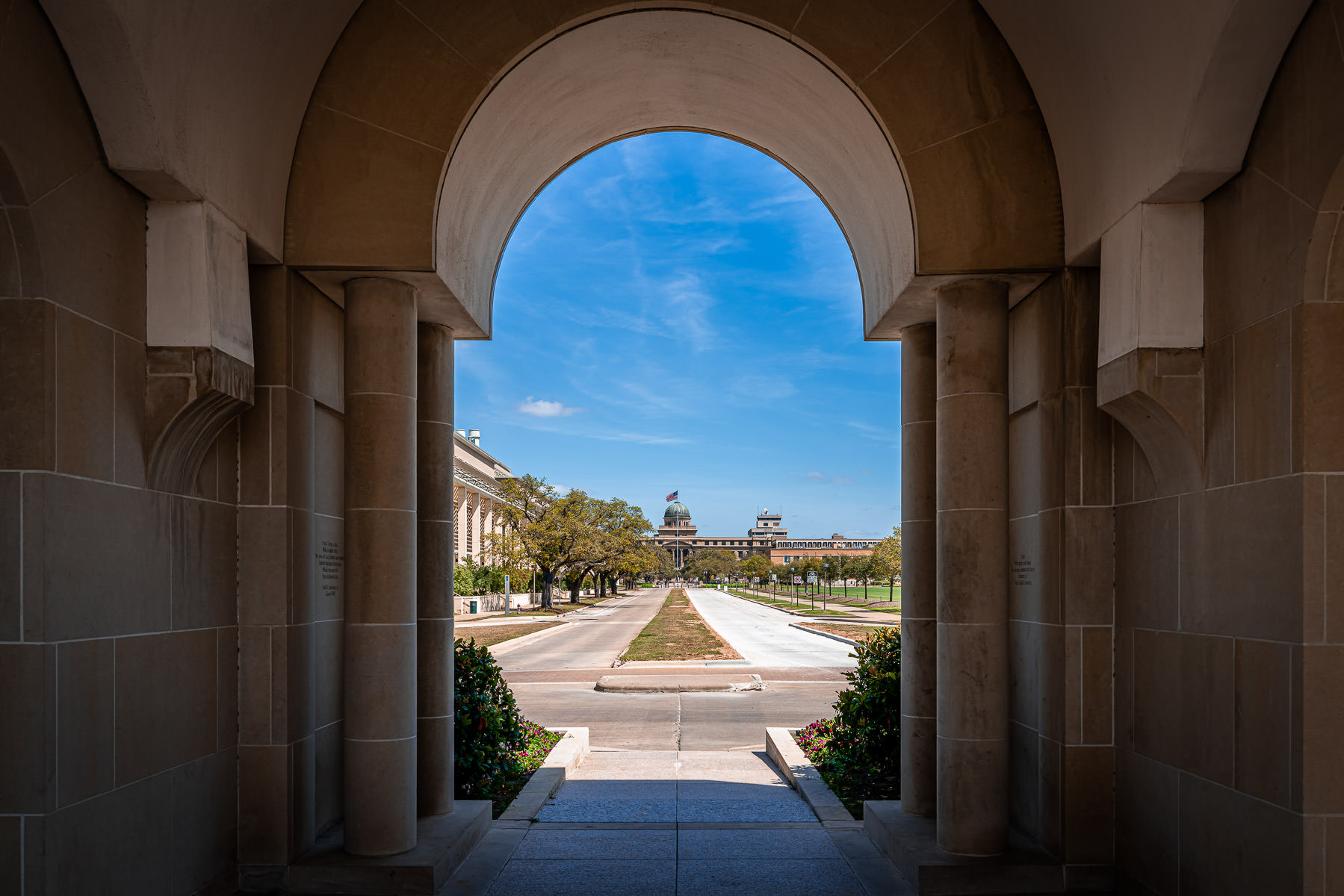 The Academic Building at Texas A&M University as seen from under Albritton Tower.