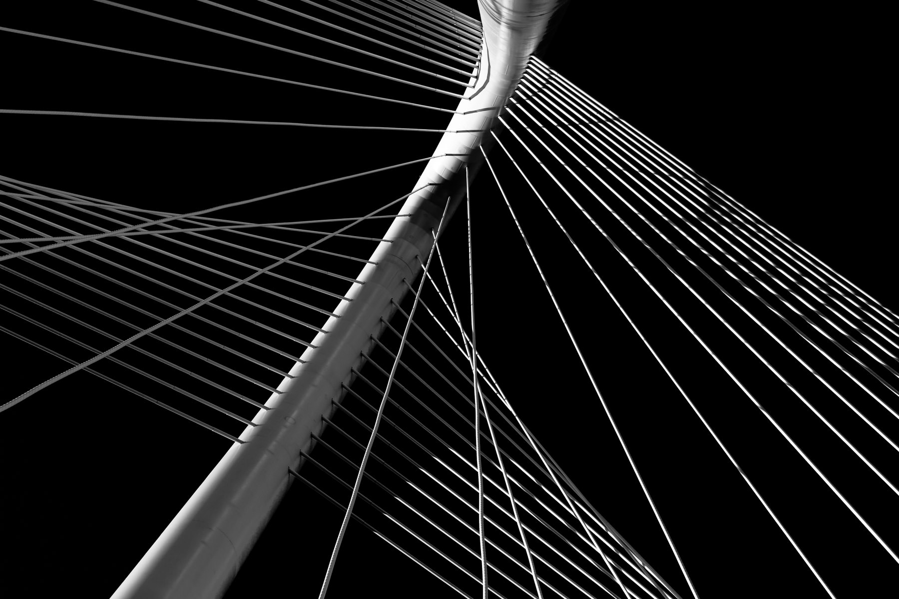 Architectural detail of Dallas' Margaret Hunt Hill Bridge.