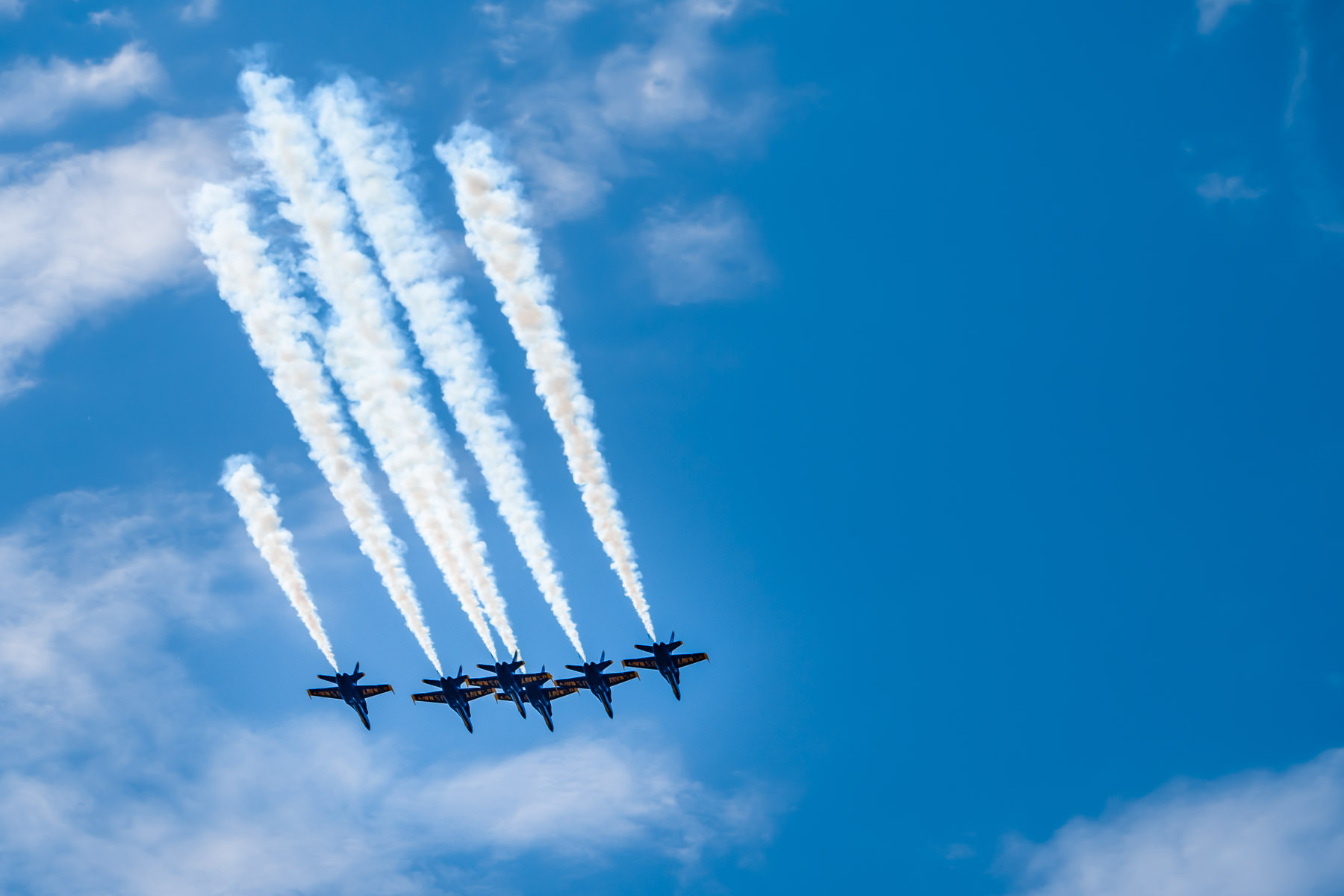 The U.S. Navy's Blue Angels fly over the northern suburbs of the Dallas-Fort Worth Metroplex as part of their salute to frontline workers in the COVID-19 pandemic response.