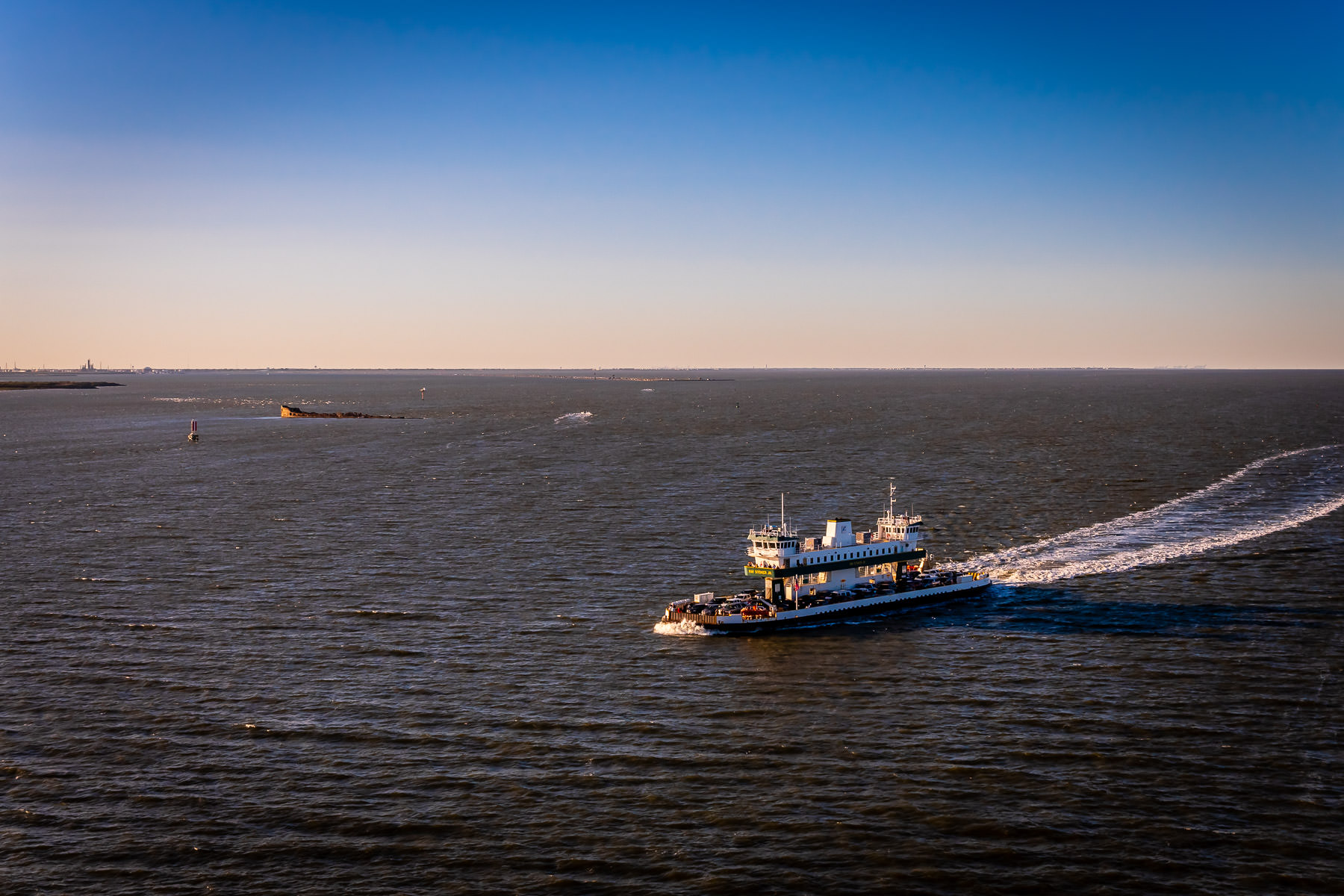 The ferryM/S Ray Stoker Jr.plies the waters between Galveston and Port Bolivar, Texas.