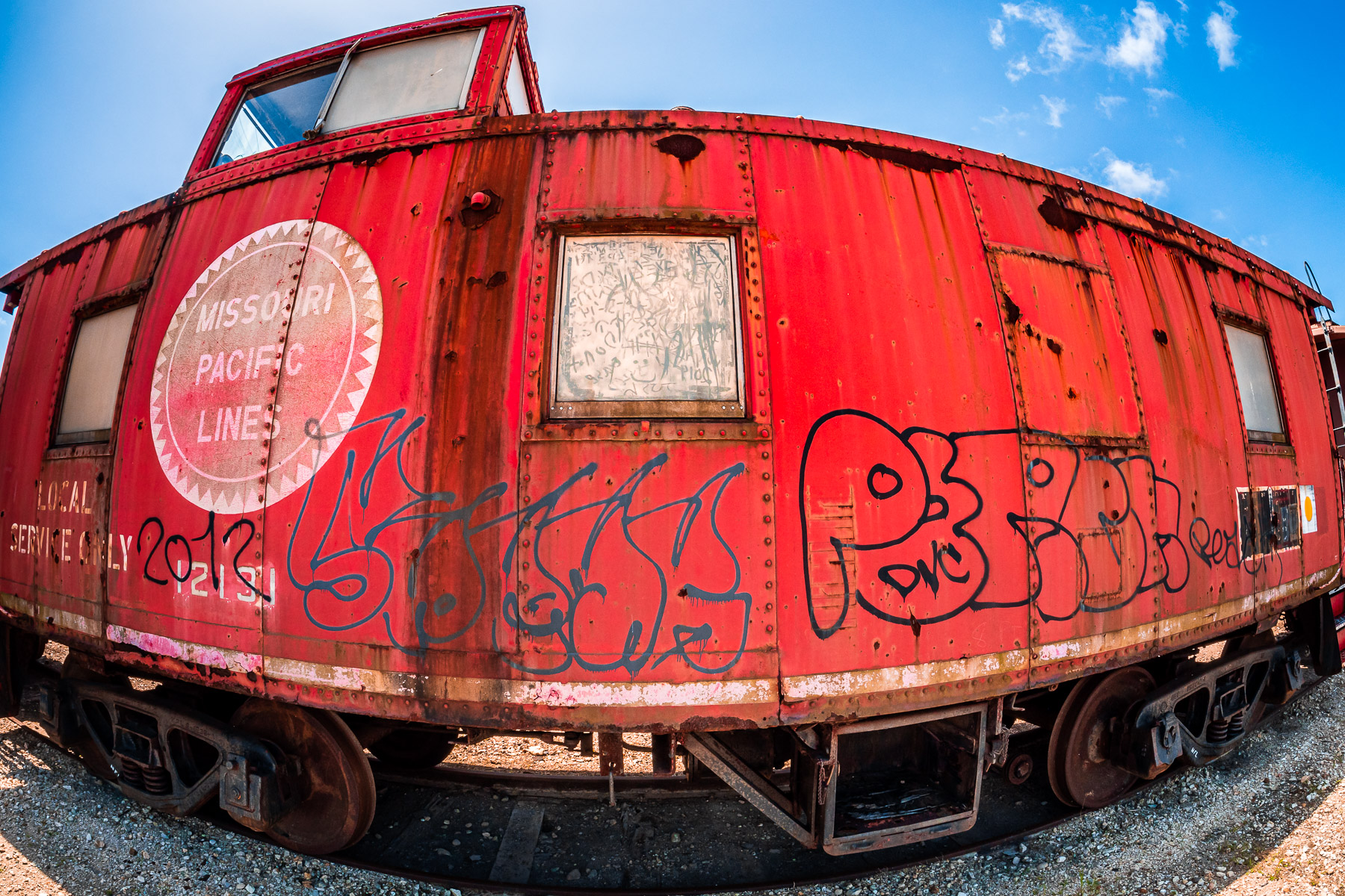 A 1942 Missouri Pacific caboose in the collection of the Galveston Railroad Museum, Texas.
