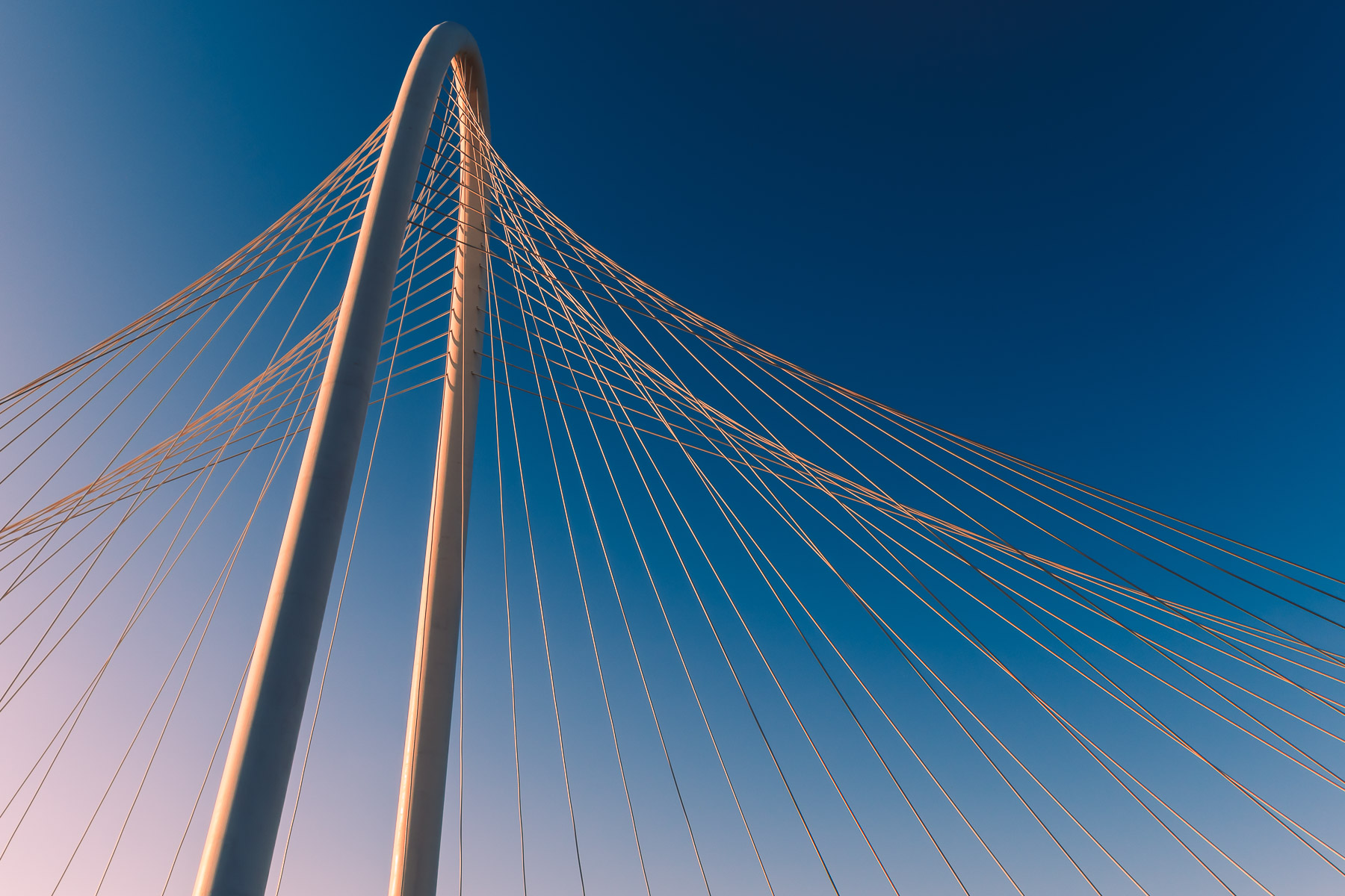 The graceful curve of Dallas' Margaret Hunt Hill Bridge arches through the morning sky.