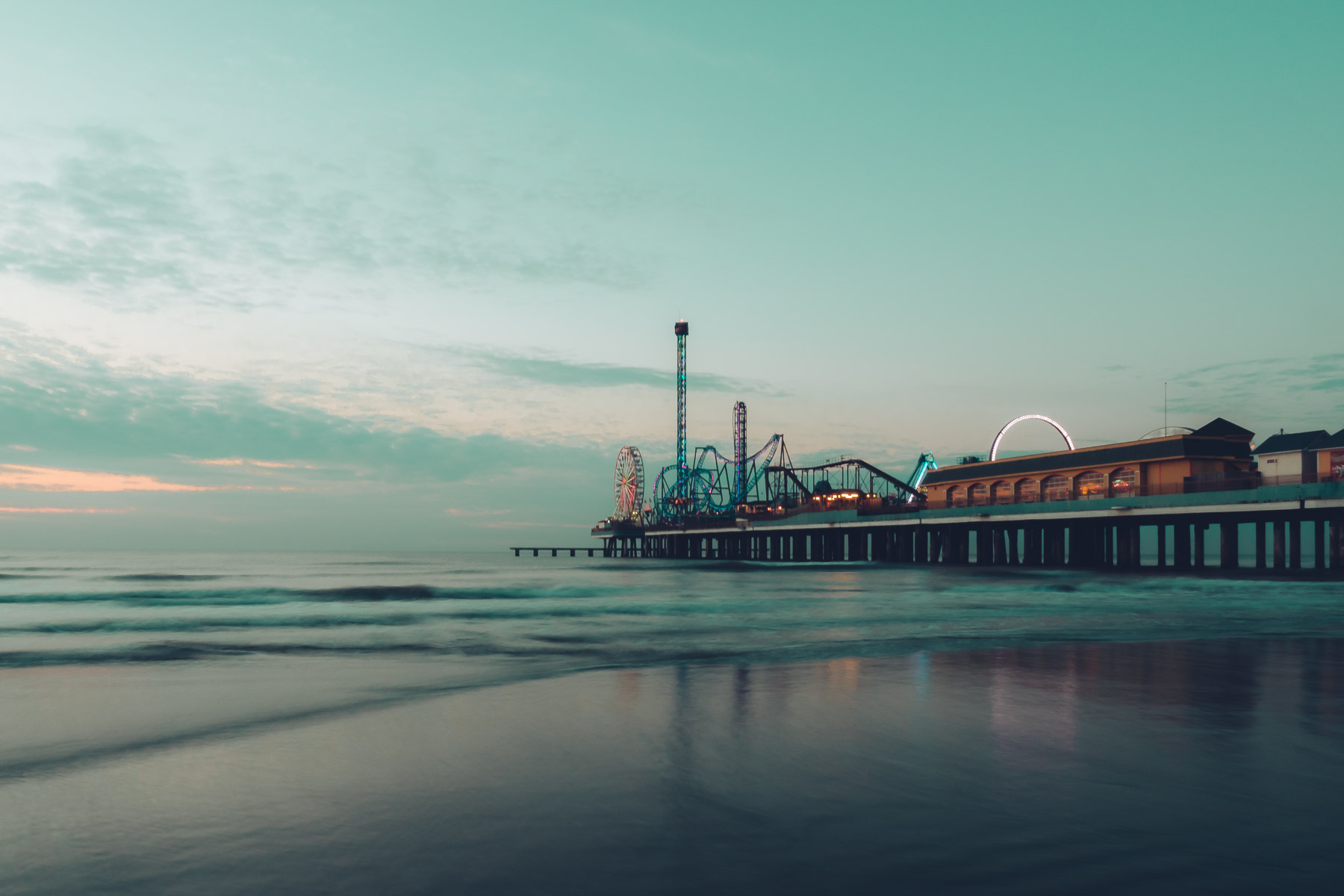 Galveston, Texas' Historic Pleasure Pier on a cold November morning.
