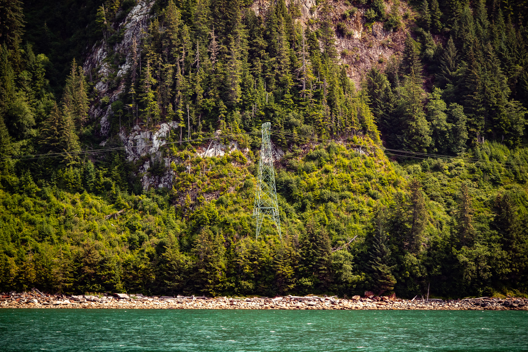 Powerlines along the shore of Gastineau Channel, Juneau, Alaska.