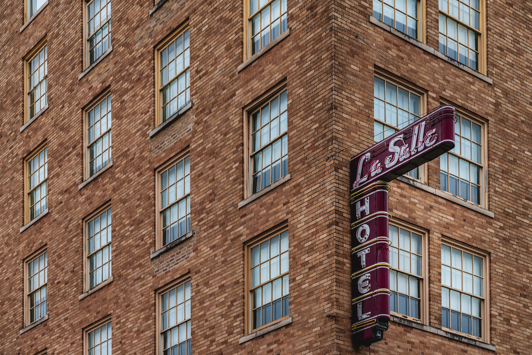 Architectural detail of the LaSalle Hotel in Downtown Bryan, Texas.