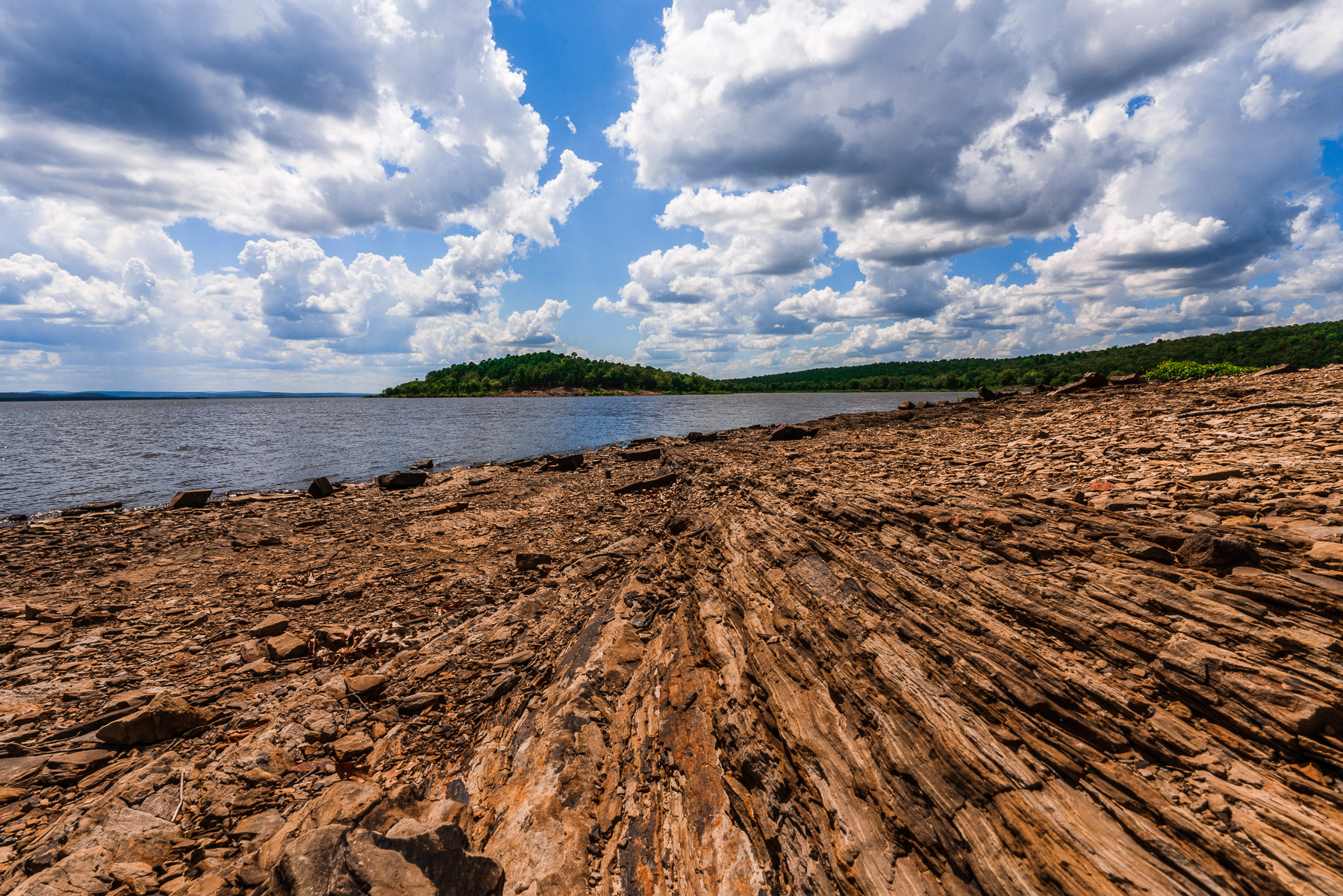 The rugged landscape of Oklahoma's Lake Wister State Park.
