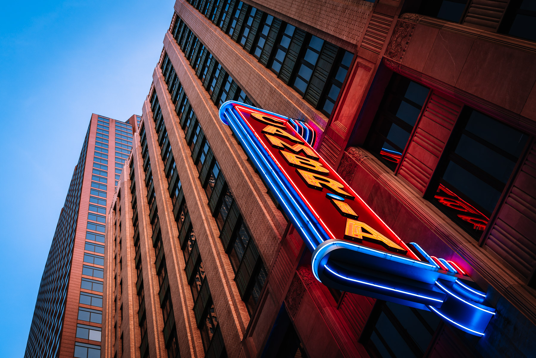 The neon sign at Downtown Dallas' Cambria Hotel.