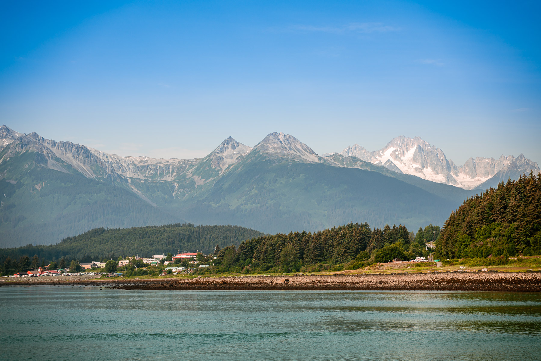 Mountains rise over the small town of Haines, Alaska.
