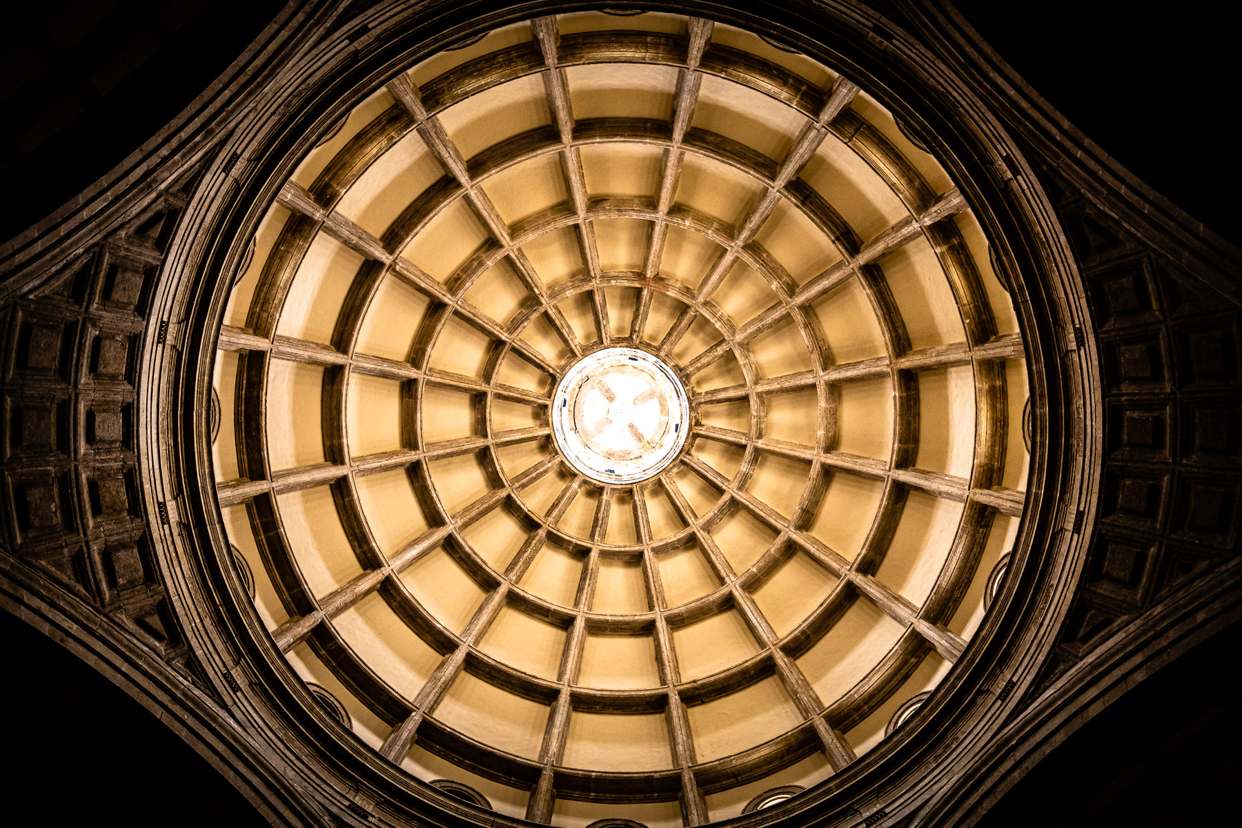 The central oculus of the vaulted ceiling of Catedral de San Ildefonso in Mérida, Mexico