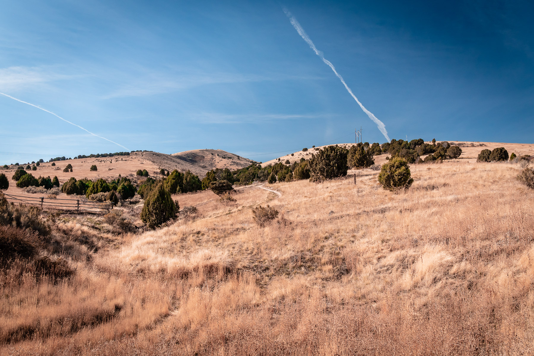 Blue skies over the hills in the outskirts of Pocatello, Idaho.