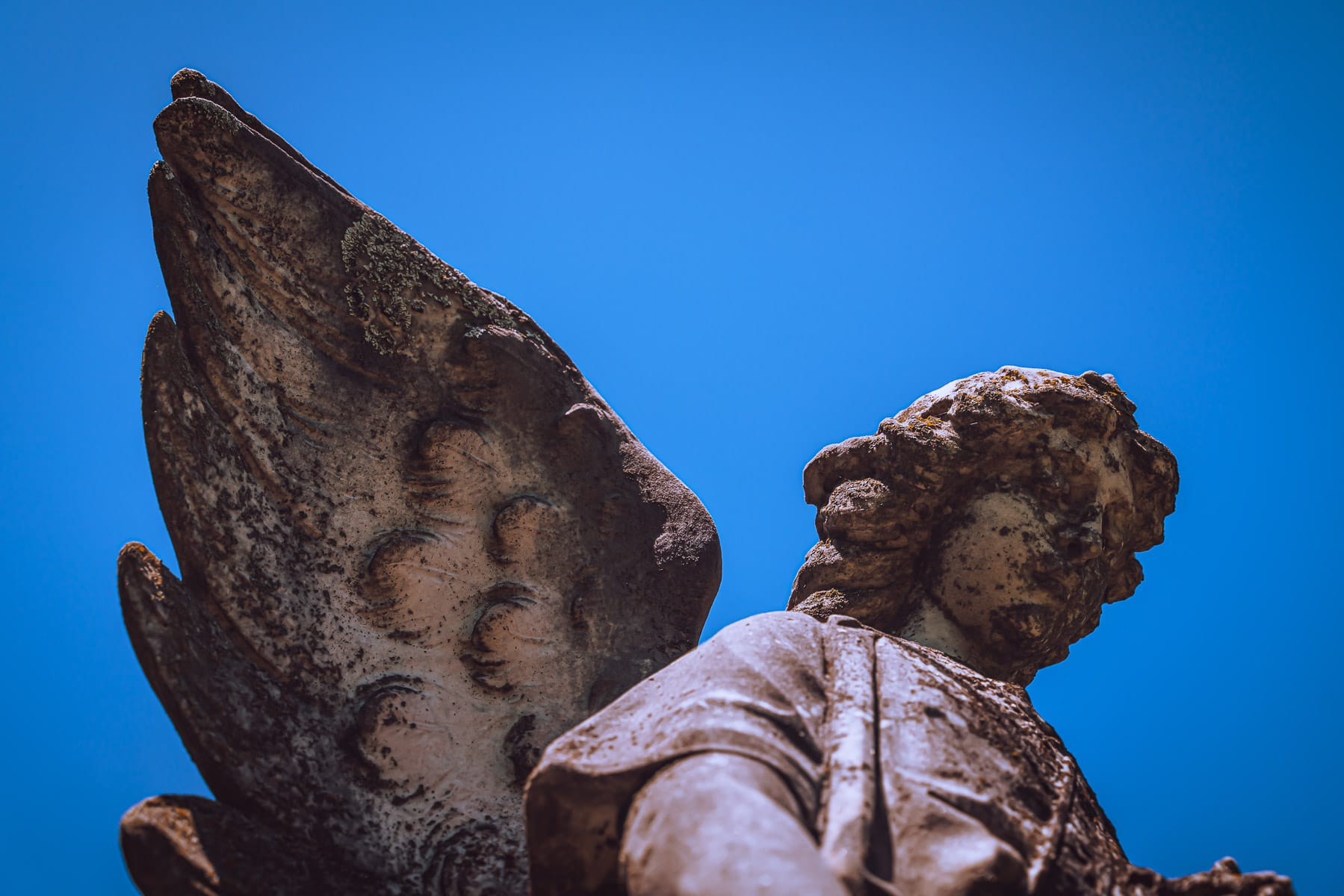 Detail of an angel statue atop a grave at McKinney, Texas' Pecan Grove Cemetery.