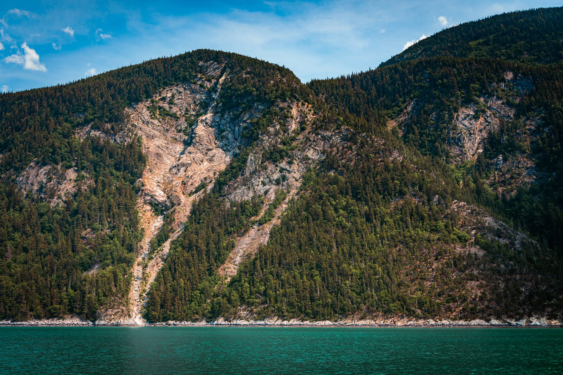 A collapsed mountainside along Taiya Inlet near Skagway, Alaska.