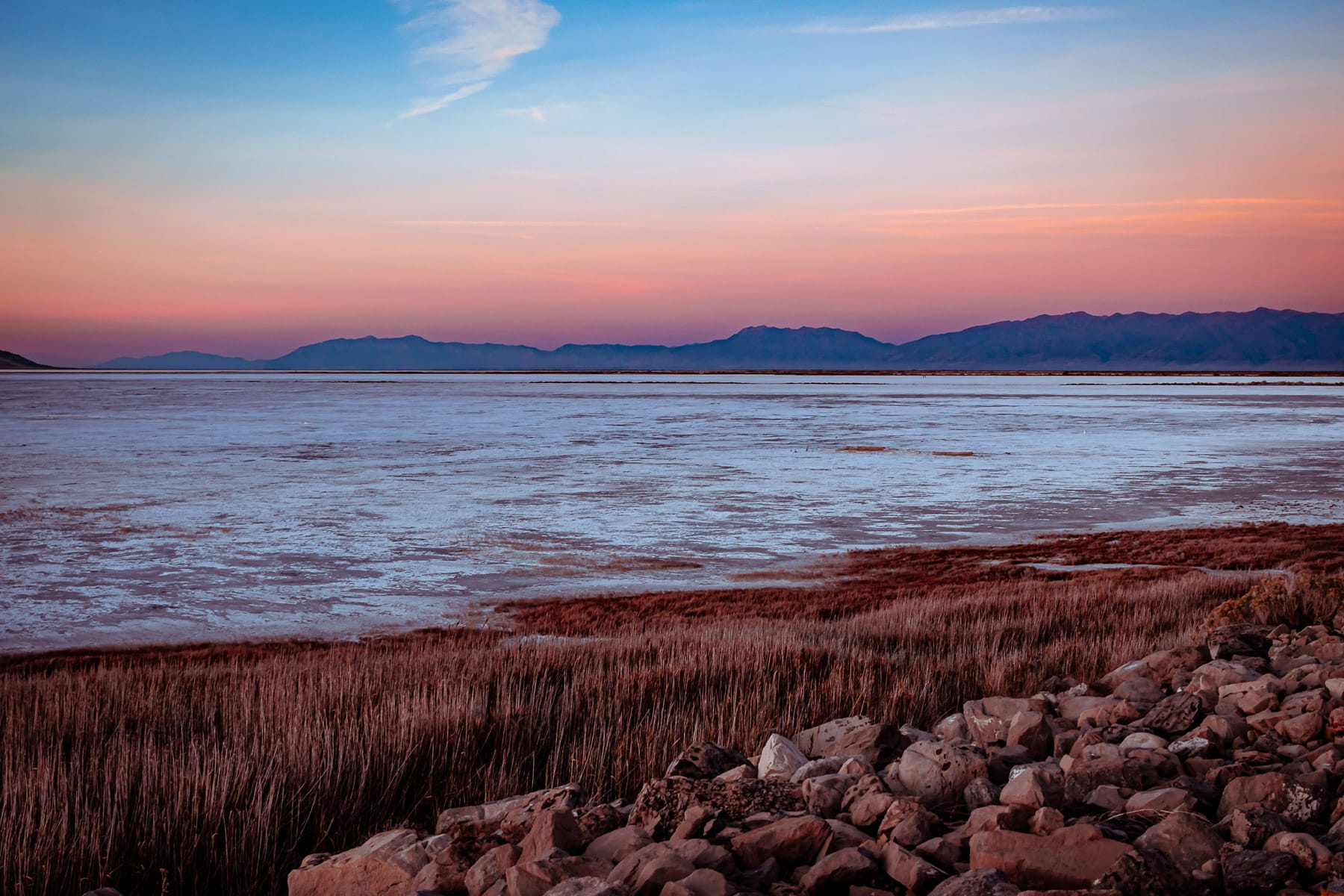 The sun sets on the Great Salt Lake, Utah.