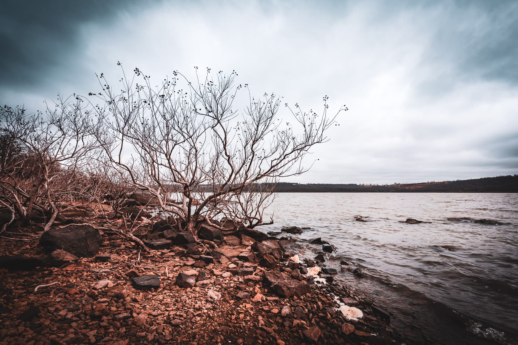 The rocky, wintry shore of Lake Eufaula at Arrowhead State Park, Oklahoma