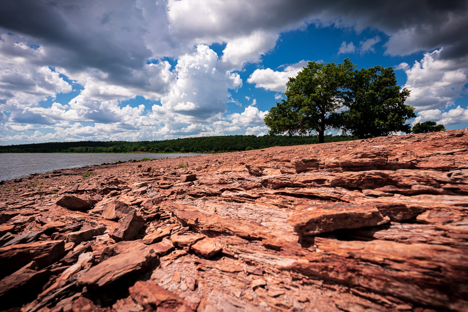 The rocky shore of Oklahoma's Lake Wister at Lake Wister State Park.