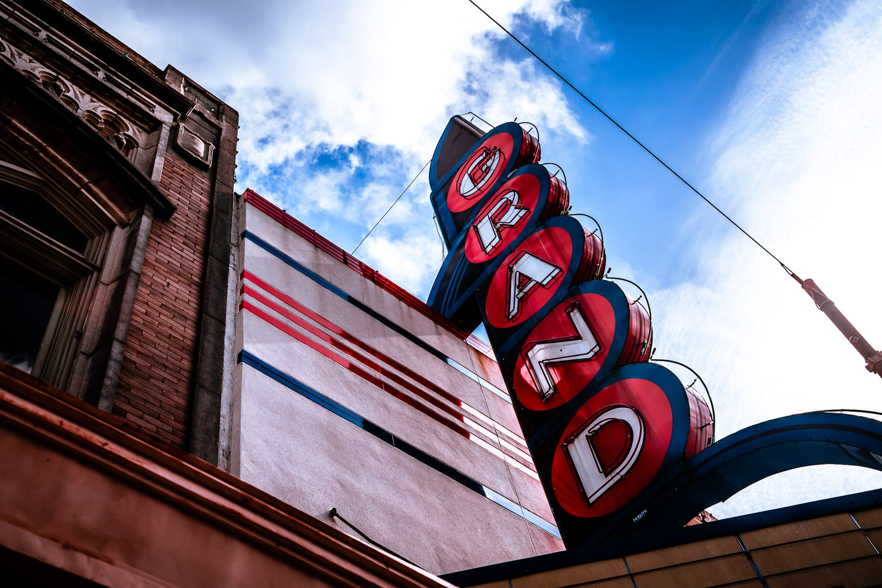 The sign of the 1937 Grand Theatre in Downtown Paris, Texas.