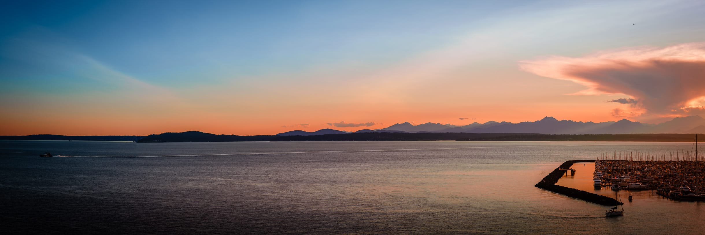 The last light of day on Elliott Bay, Seattle, Washington.