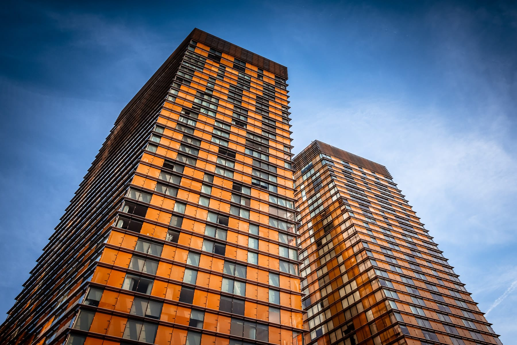 The Veer Towers rise into the blue Nevada sky at CityCenter, Las Vegas.