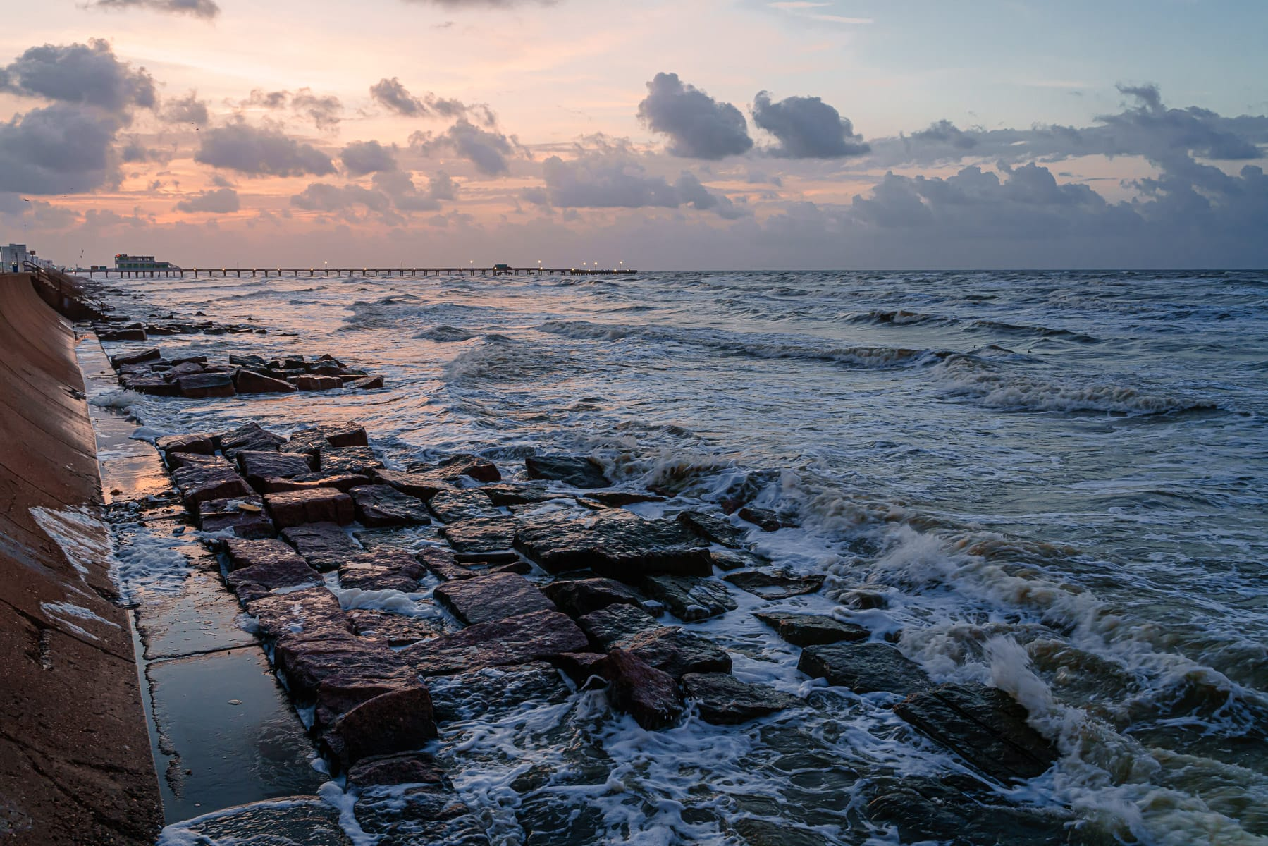 The sun rises on Galveston Island, Texas.