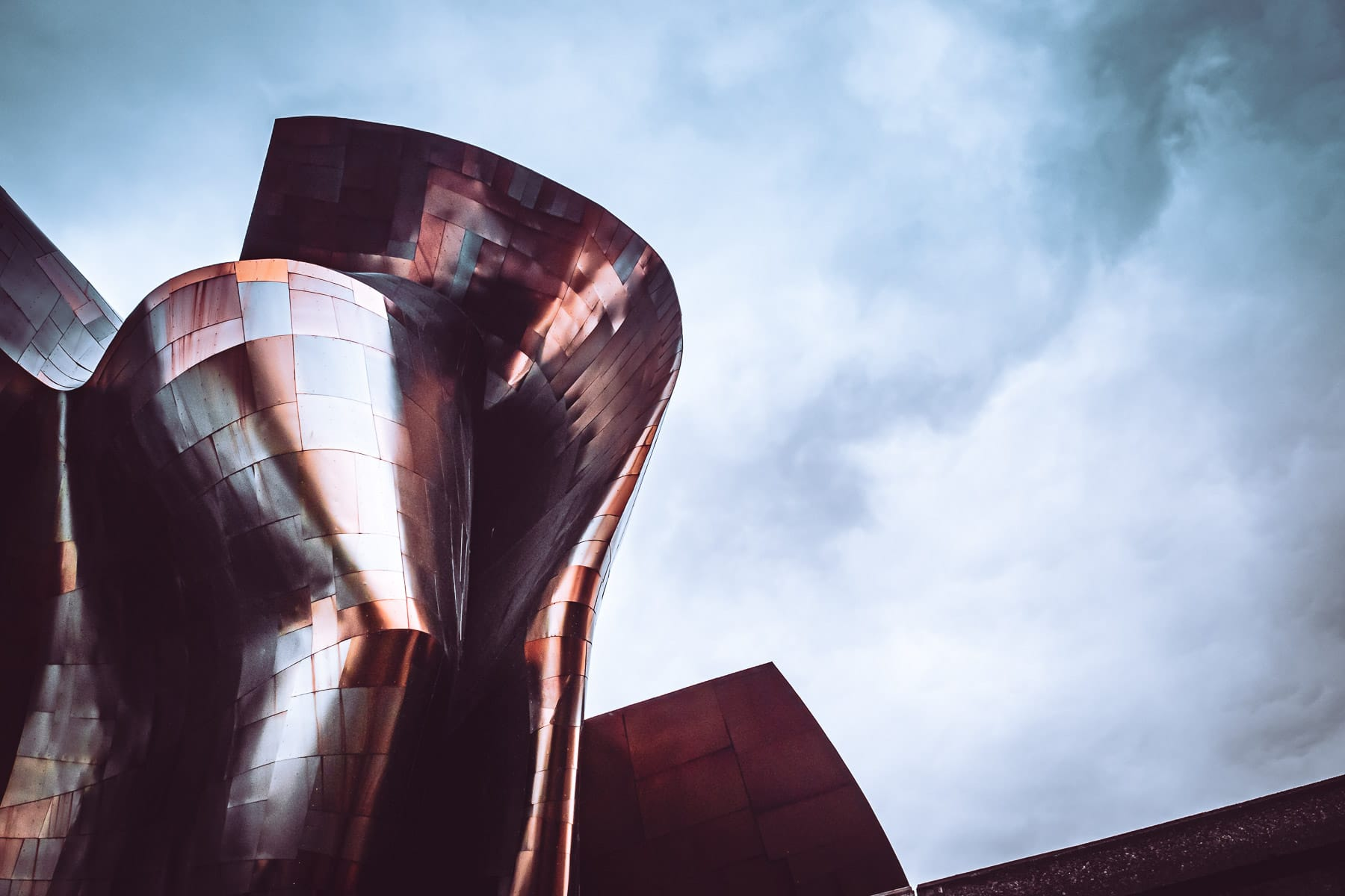 Architectural detail of Frank Gehry's Museum of Pop Culture, Seattle.