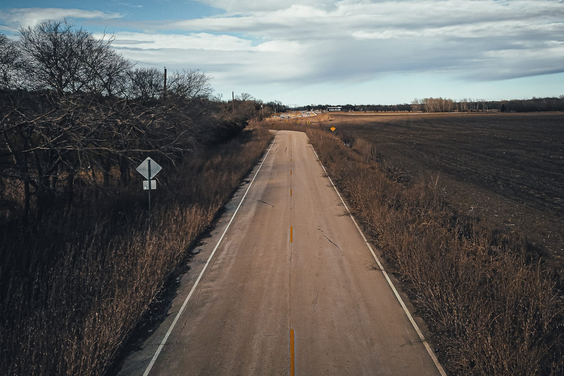 An aerial view of a disused road near McKinney, Texas.