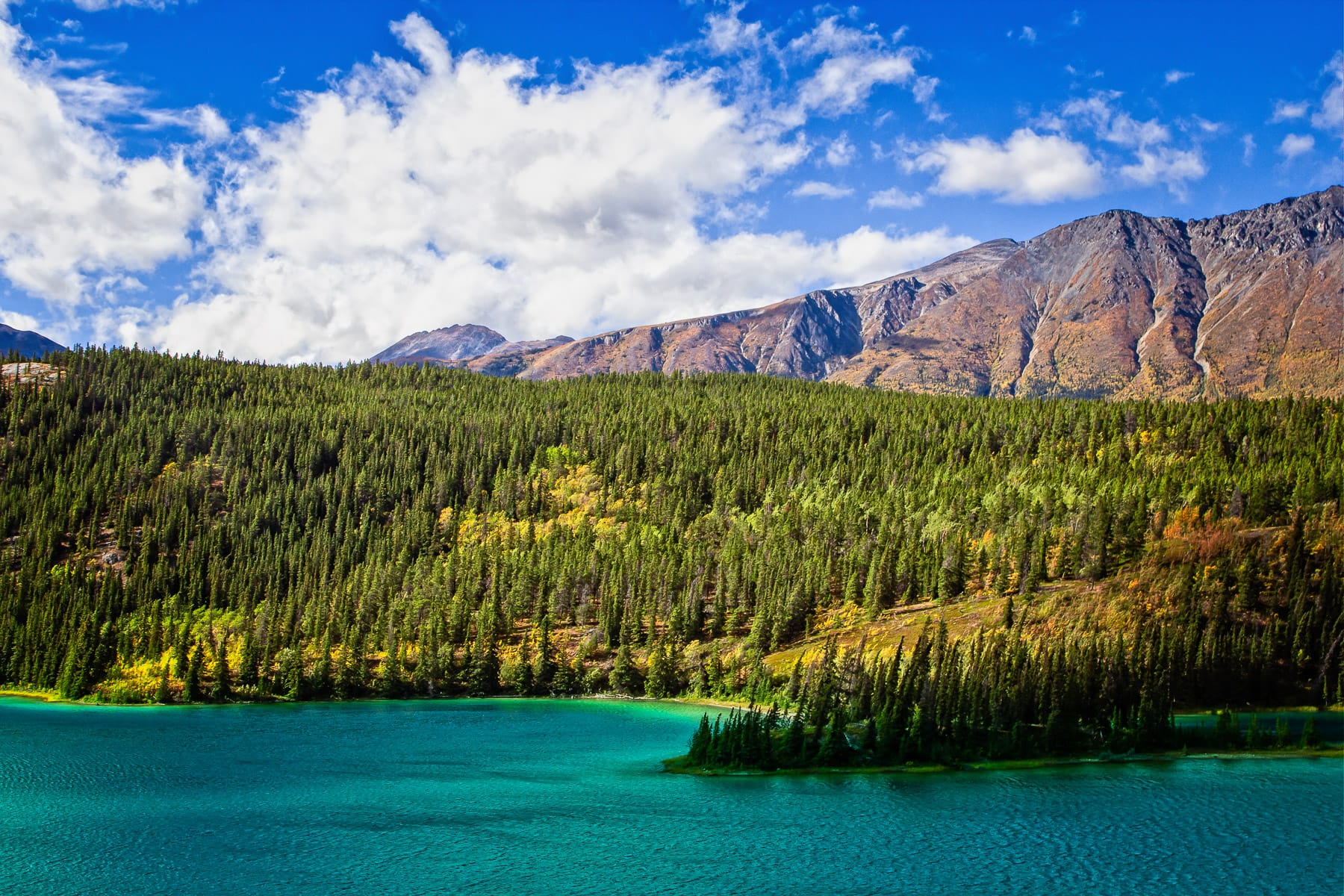 The deep blue-green waters of Emerald Lake, nestled in the mountains just north of Carcross, Yukon Territory, Canada.