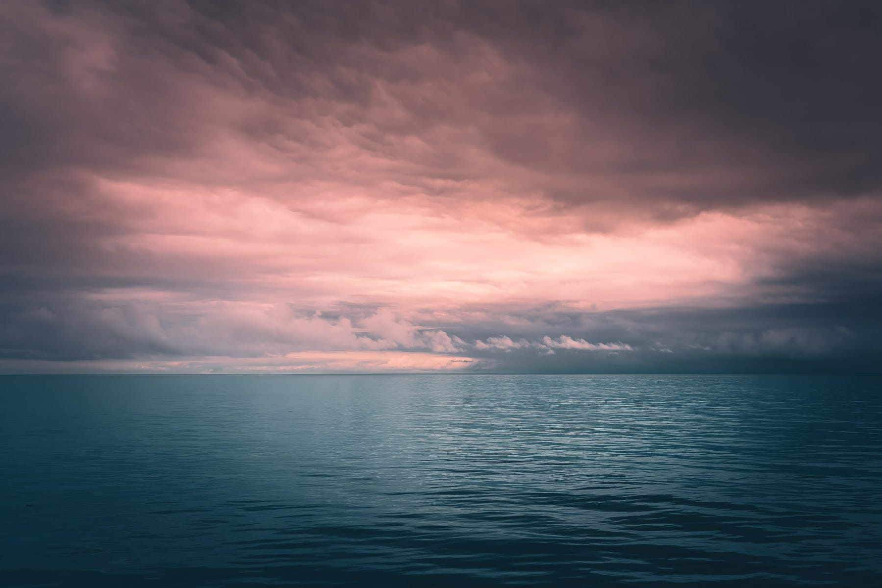 A cloudy morning on the North Pacific Ocean off the coast of Vancouver Island, Canada.