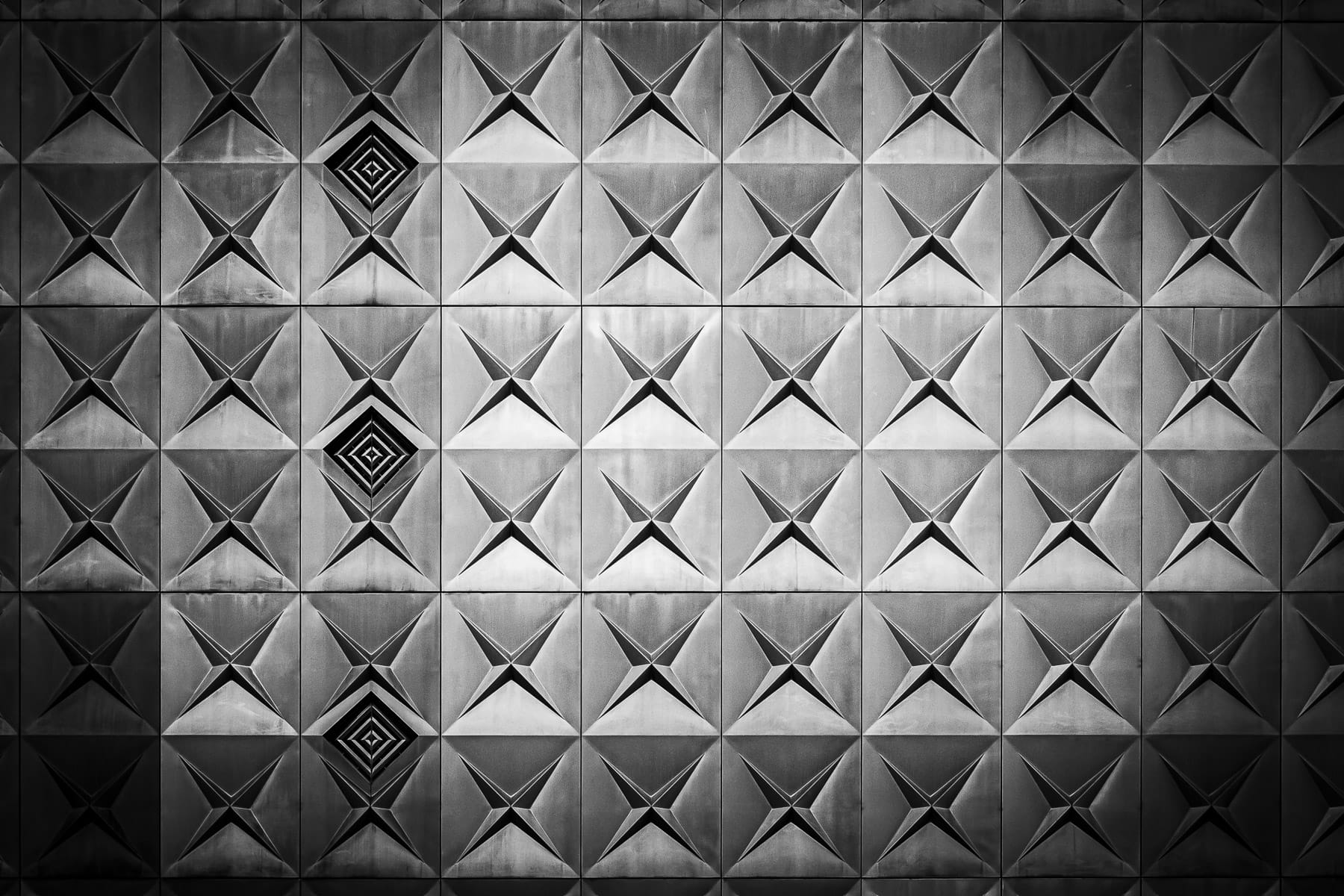 An abstraction of the aluminum facade of the 1954 Republic Center in Downtown Dallas.