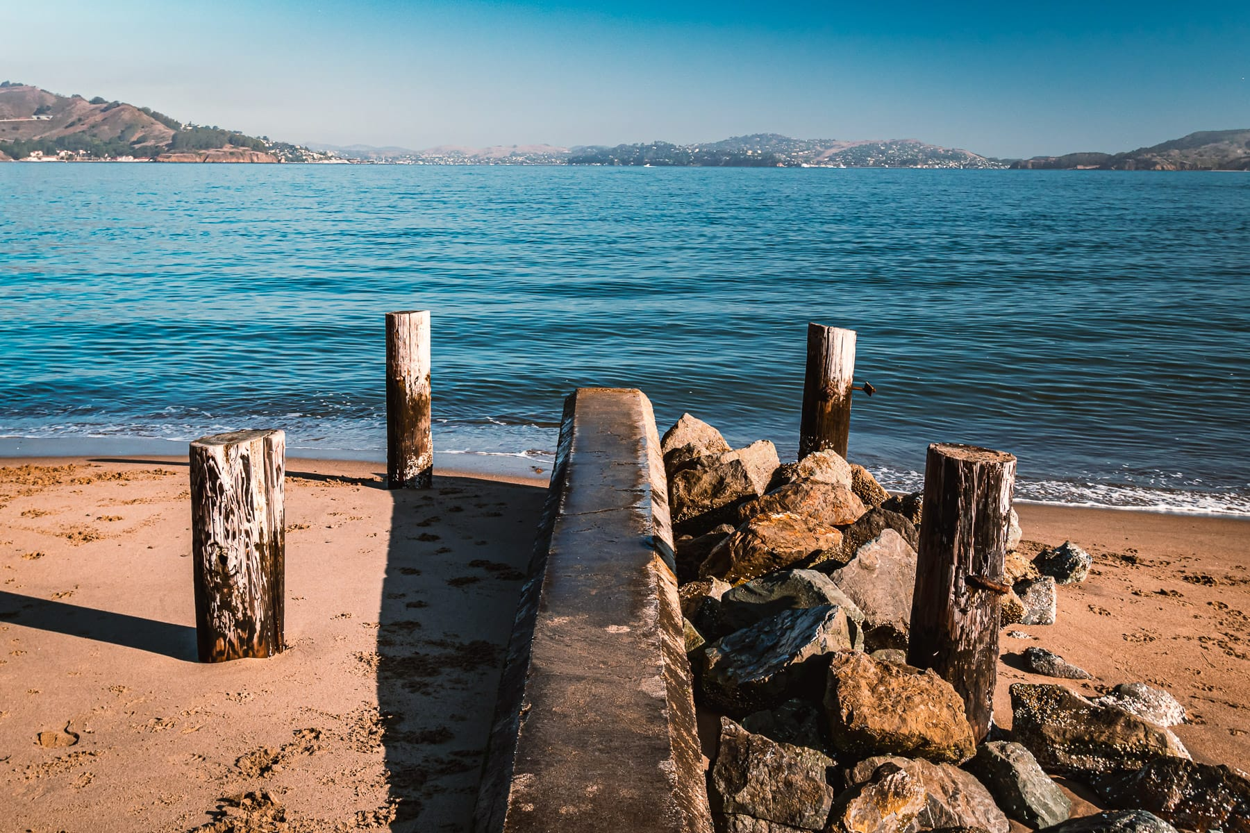 The remains of an old pier at Crissy Field, San Francisco.