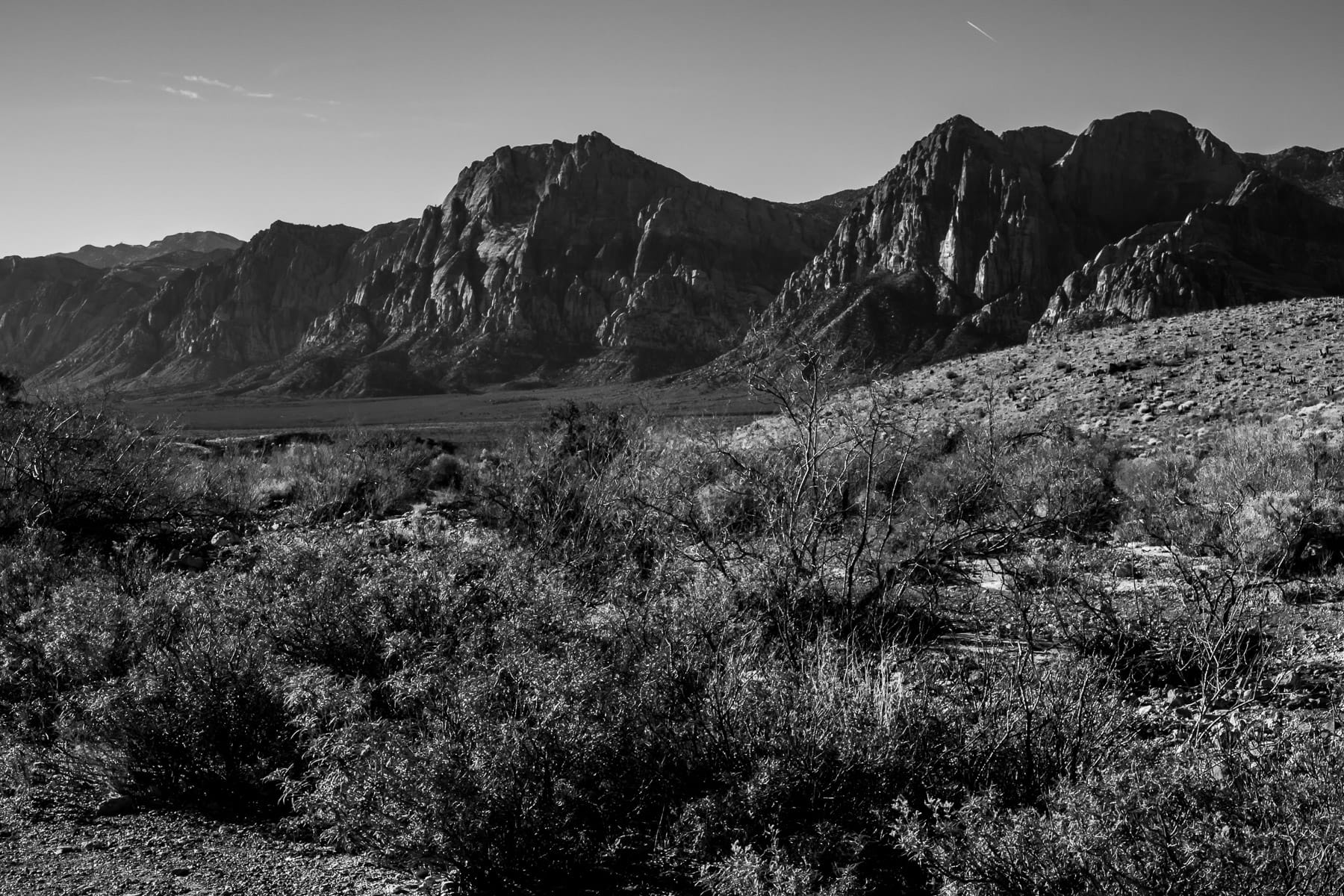 The rugged landscape of Nevada's Red Rock Canyon.
