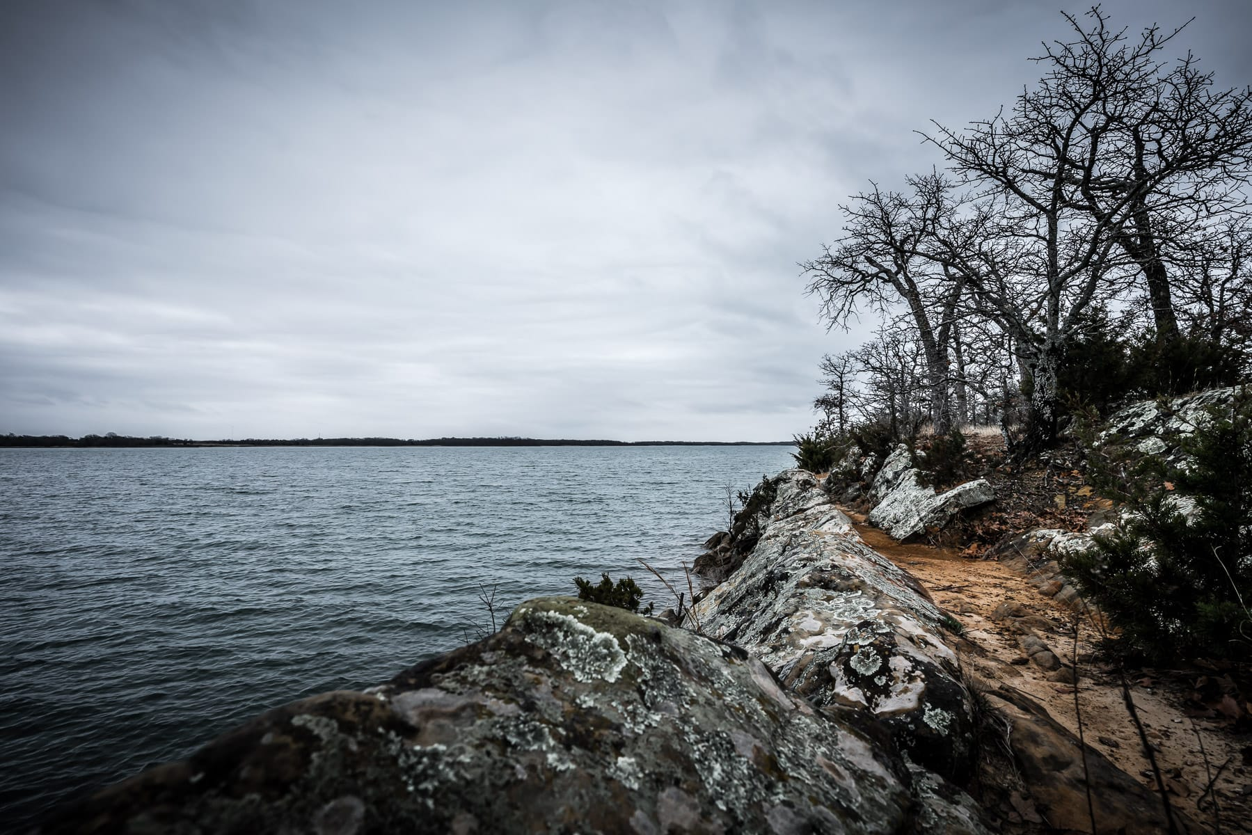 Trees and rocks on a dreary day at Oklahoma's Lake Murray State Park.