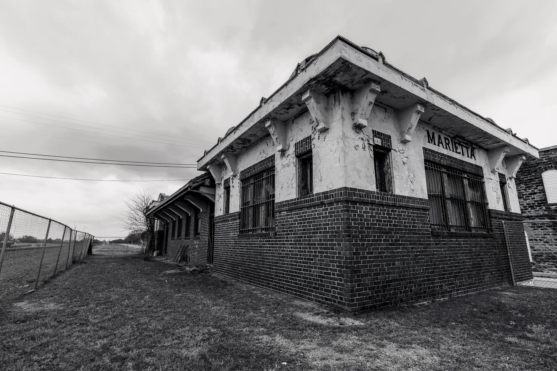 The abandoned railroad depot at Marietta, Oklahoma.