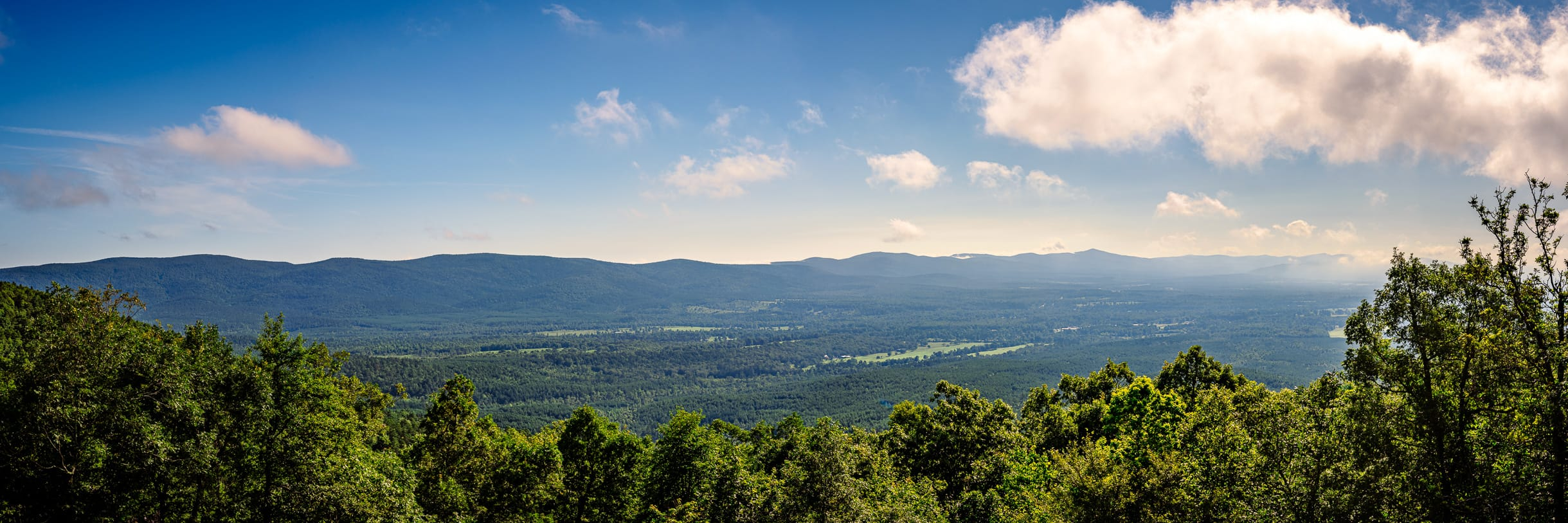 The Ouachita Mountains stretch into the distance as seen from the Talimena National Scenic Byway, Arkansas.