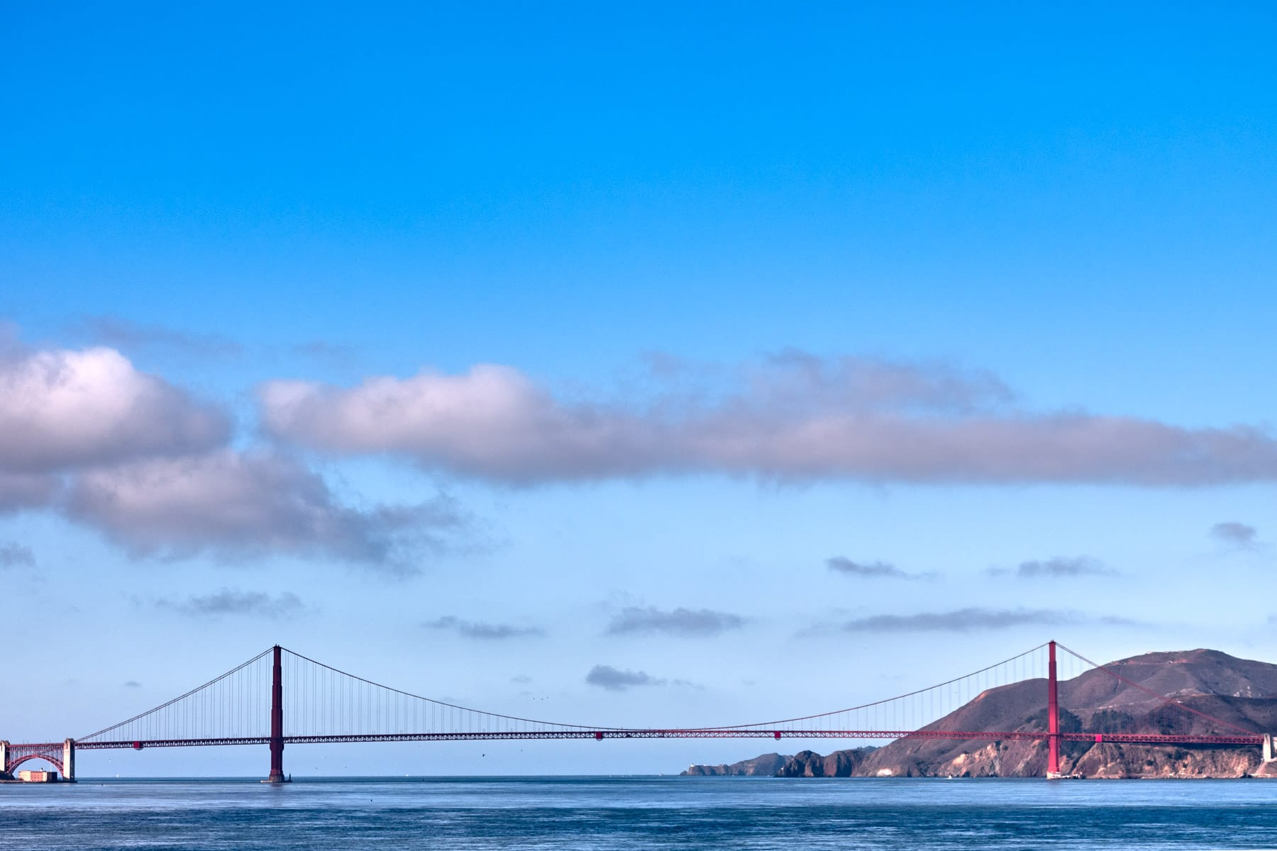 The Golden Gate Bridge spans its namesake cataract at the entrance to San Francisco Bay.