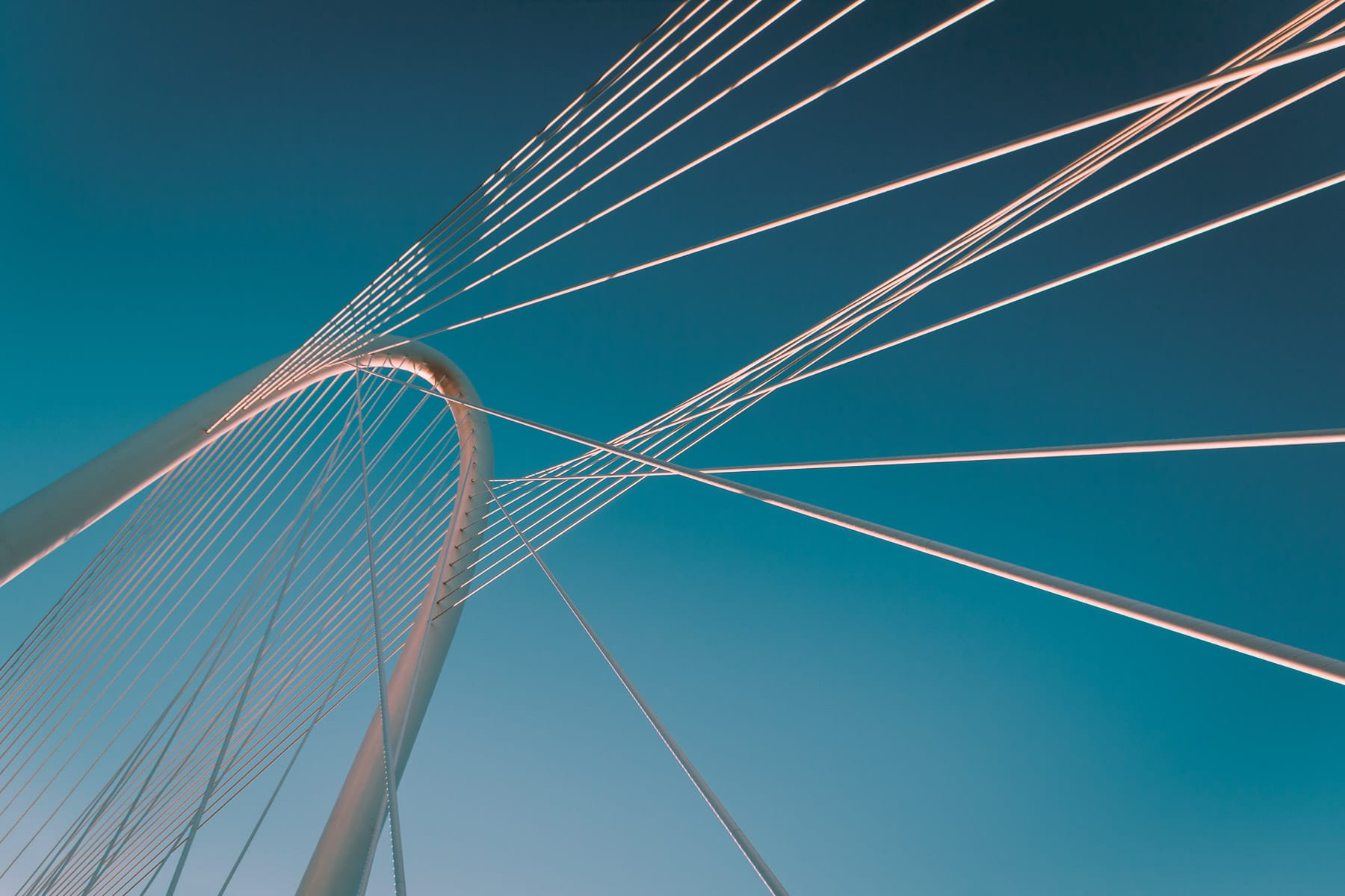 Architectural detail of the Santiago Calatrava-designed Margaret Hunt Hill Bridge, Dallas, Texas.