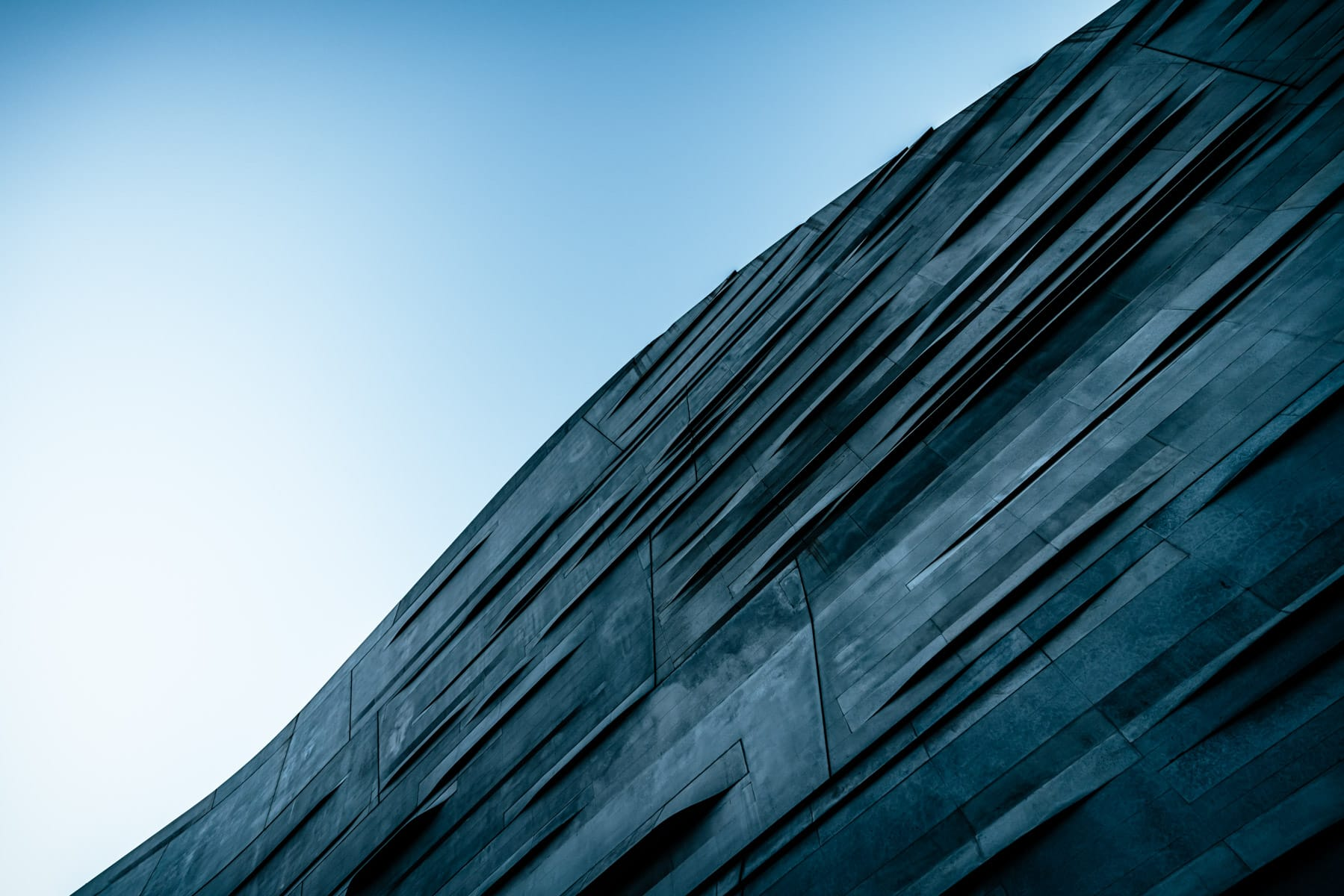 An abstract study of the exterior of Dallas' Perot Museum of Nature & Science.