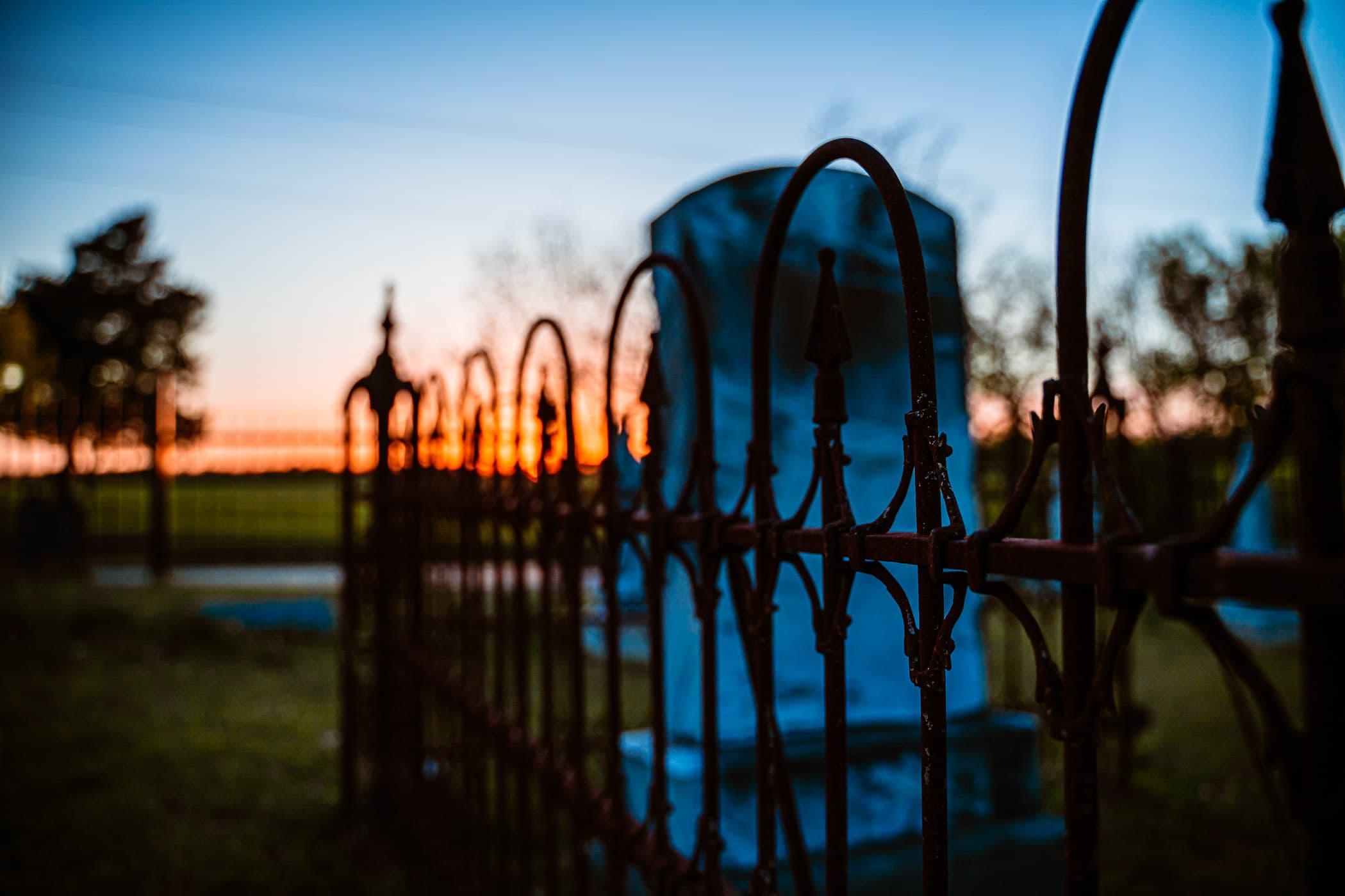 The sun sets on the historic Chambersville Cemetery, Chambersville, Texas.
