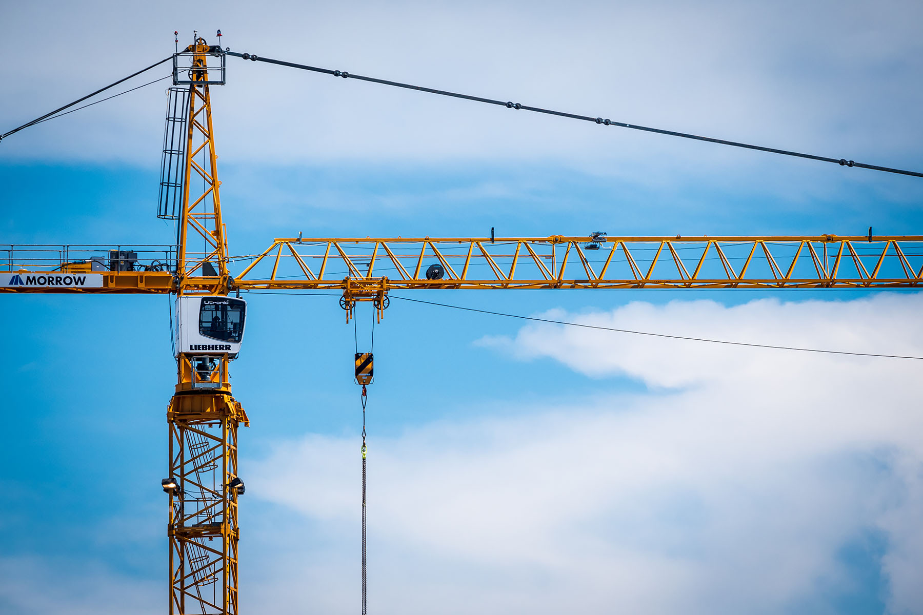 A tower crane at a construction site spotted in Seattle, Washington.