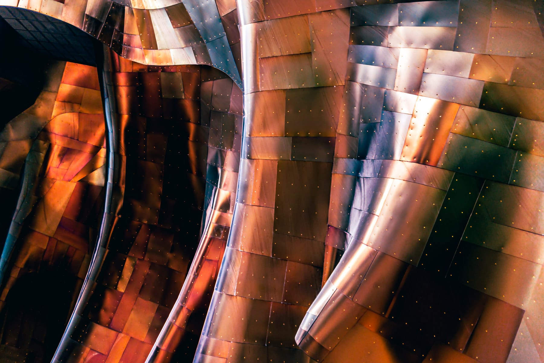 Abstract architectural detail of Frank Gehry's Museum of Pop Culture, Seattle.