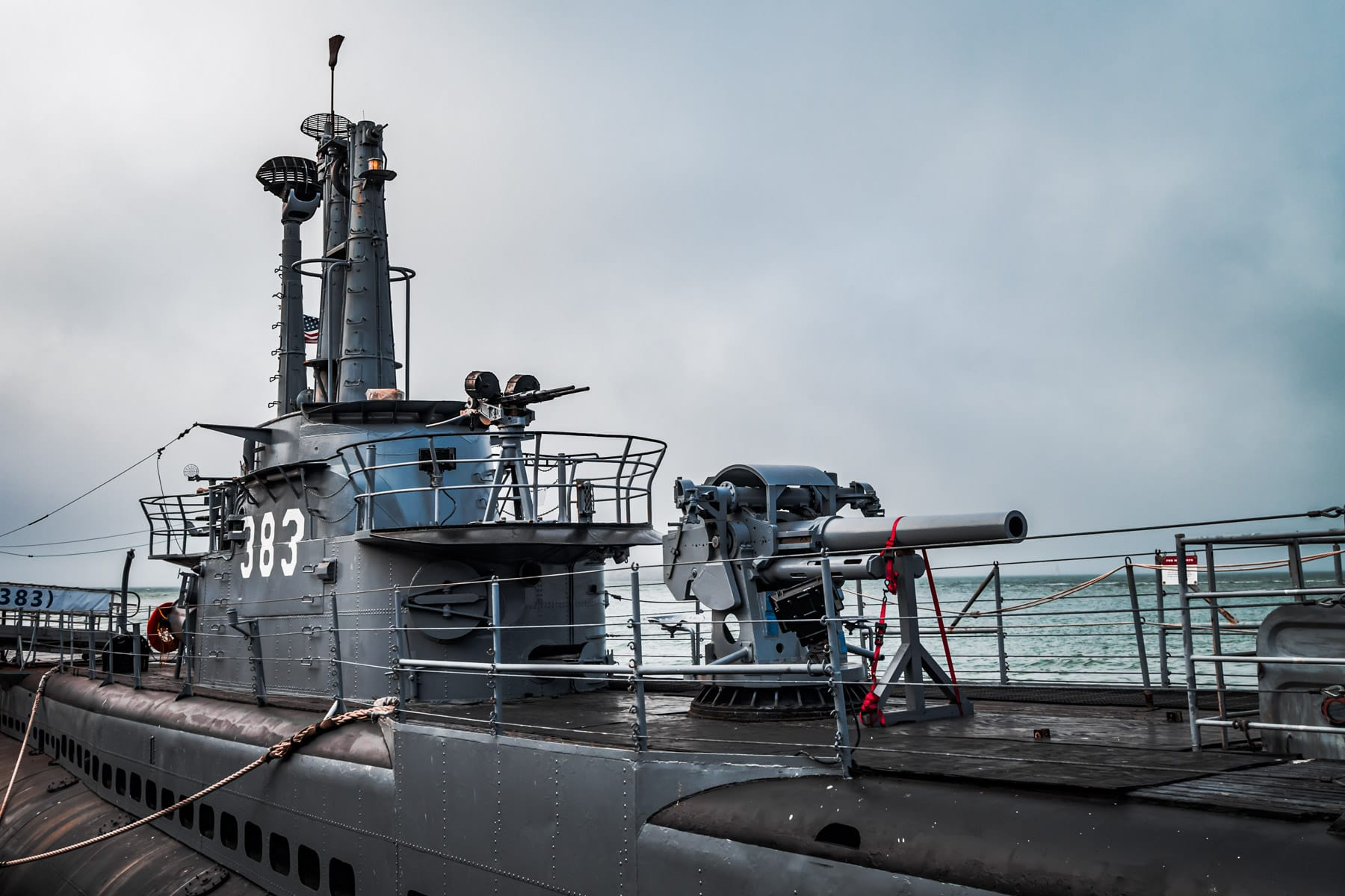 The gun deck of the World War II-era submarine USS Pampanito, now on display at San Francisco's Fisherman's Wharf.